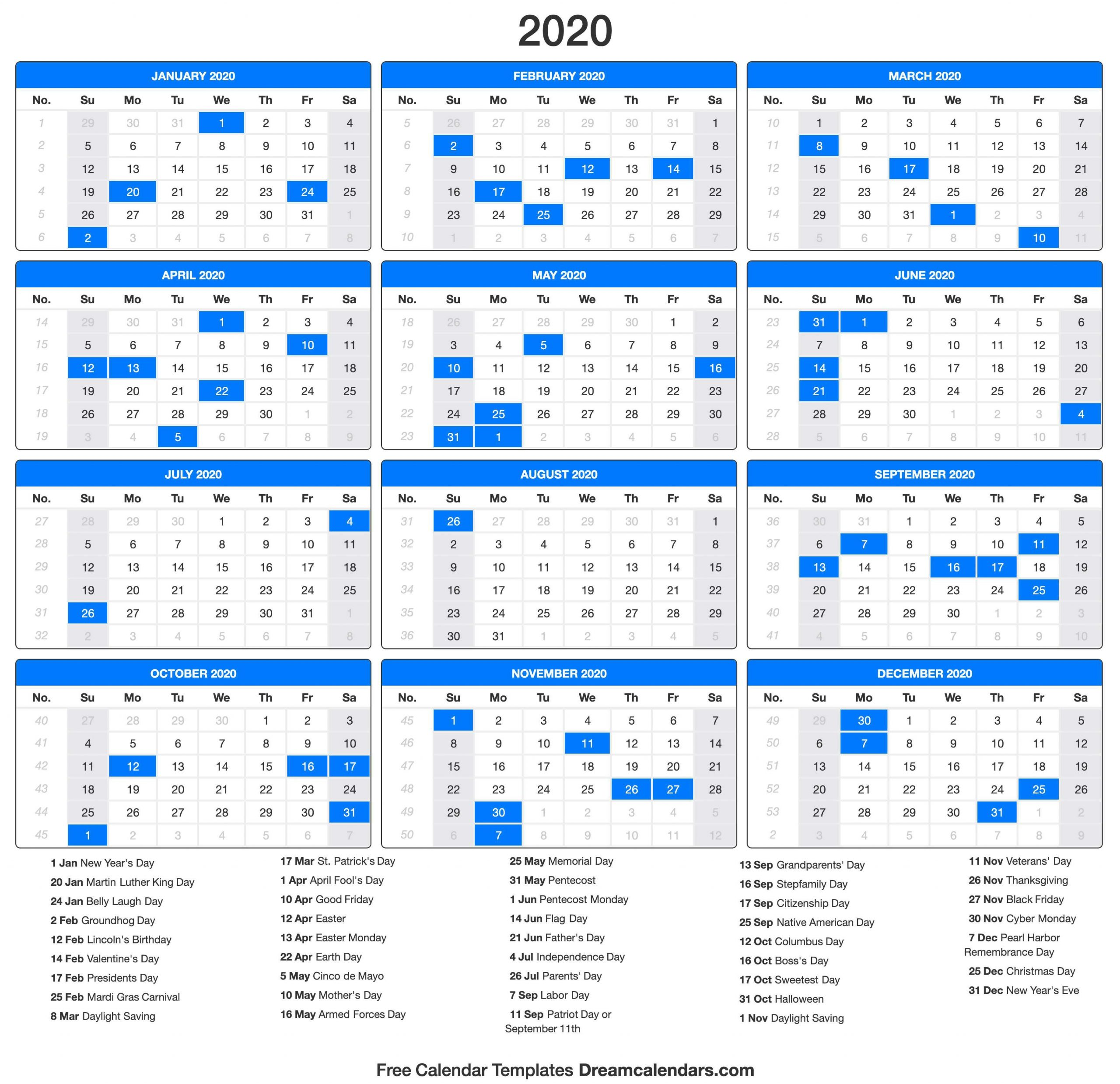 Yearly 2020 Calendar Templates - Helena Orstem - Medium