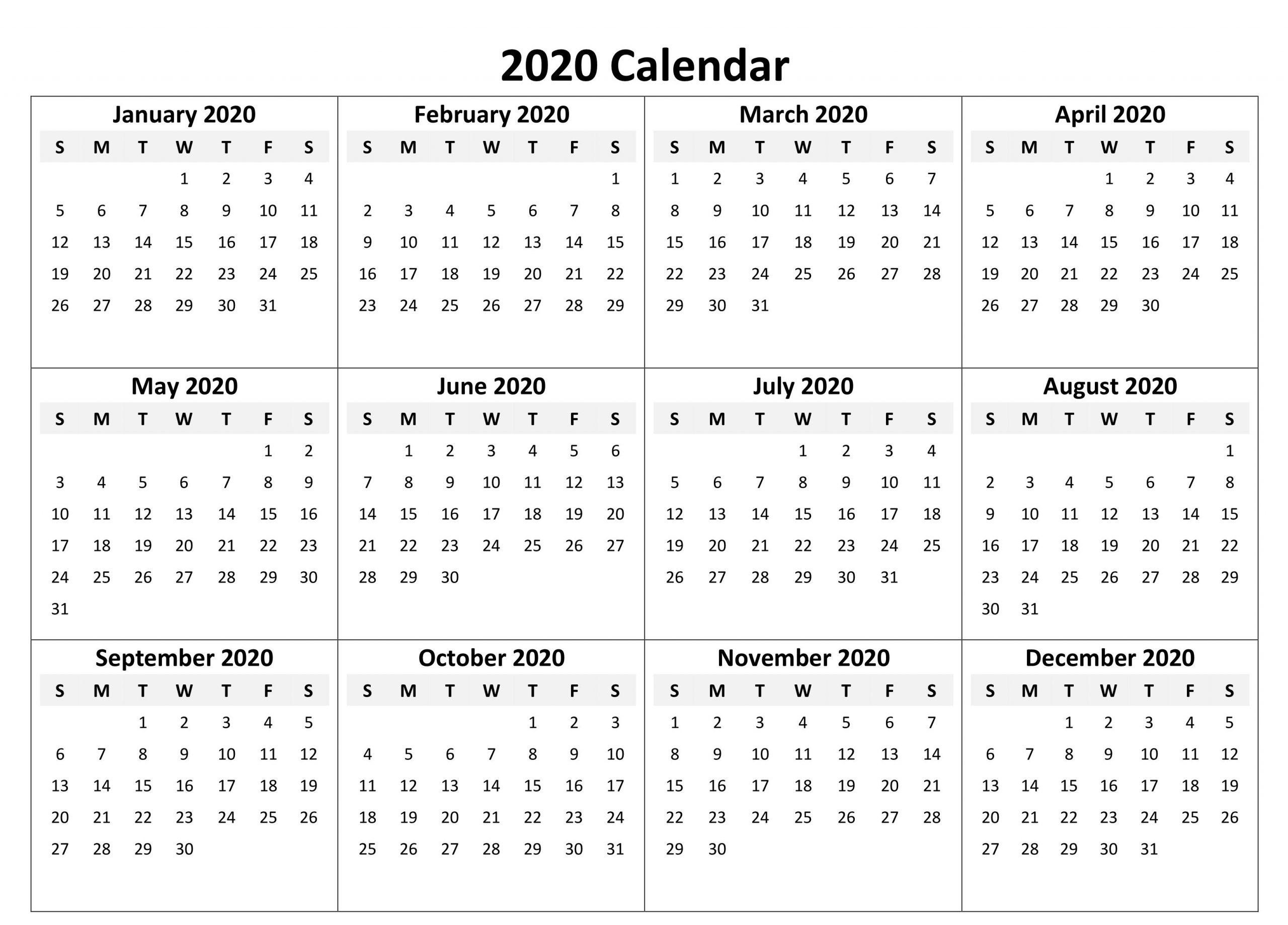 Yearly Calendar 2020 Free Download | Printable Calendar
