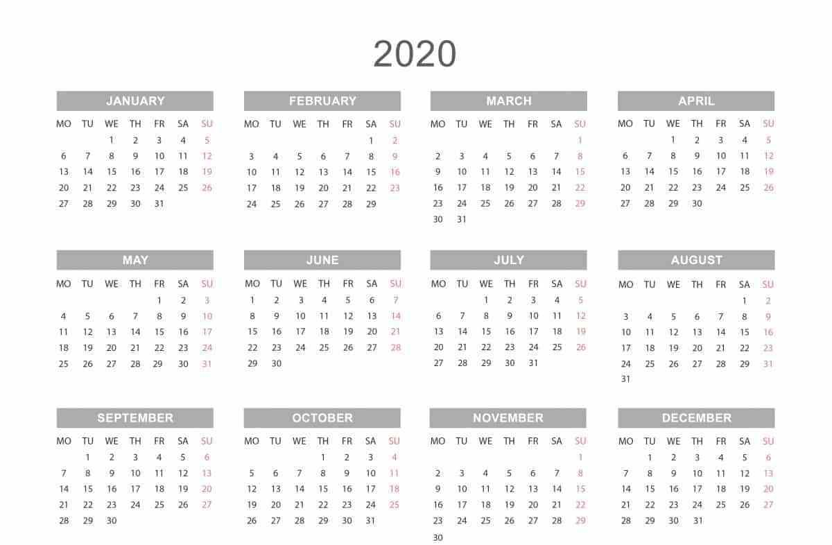 Yearly Calendar 2020 | Printable Yearly Calendar, Yearly