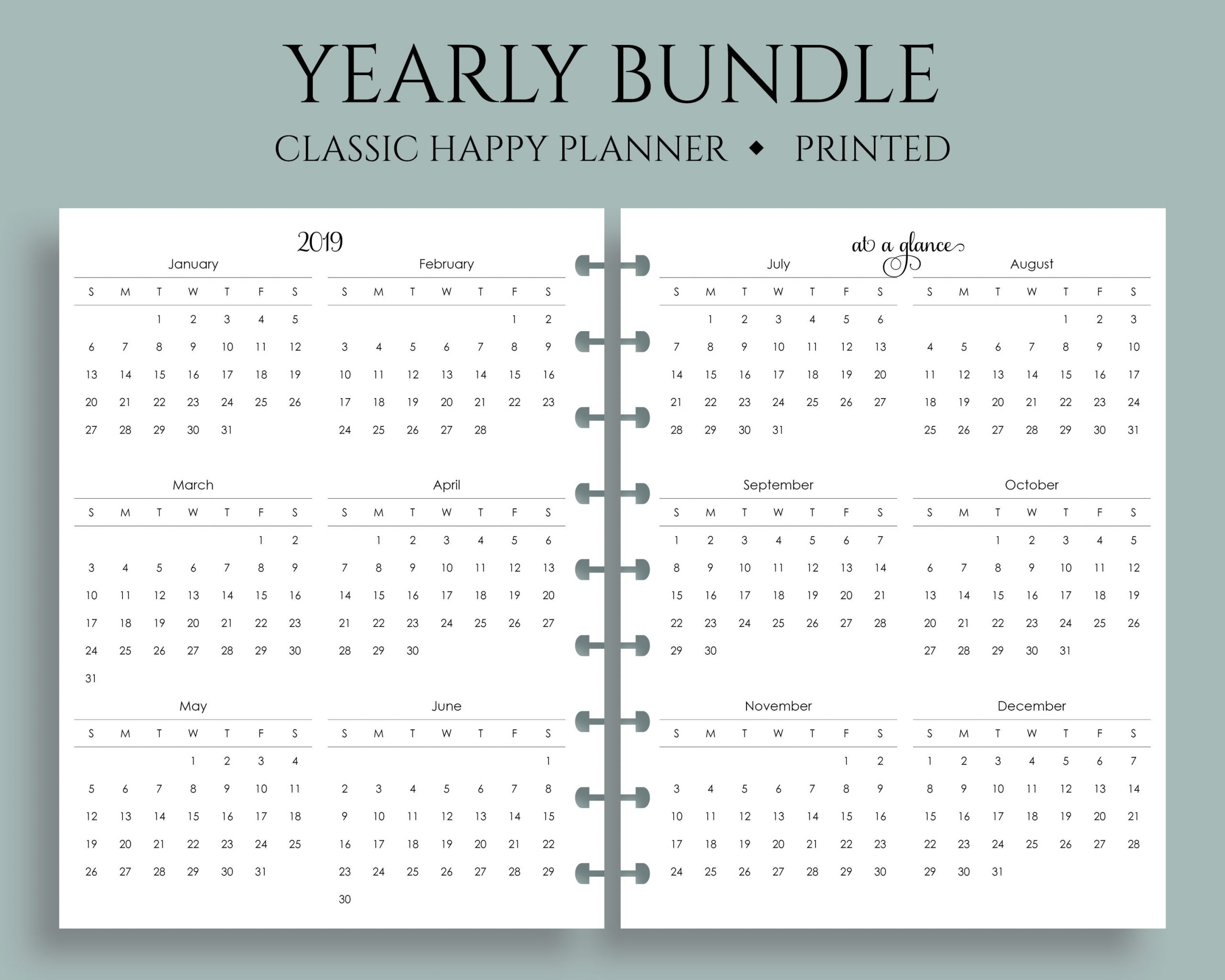 "Yearly Calendar Bundle, 2019 And 2020 Year-At-A-Glance, Dates To Remember,  U.s. Holidays ~ Classic Happy Planner / 7"" X 9.25"" Discbound"