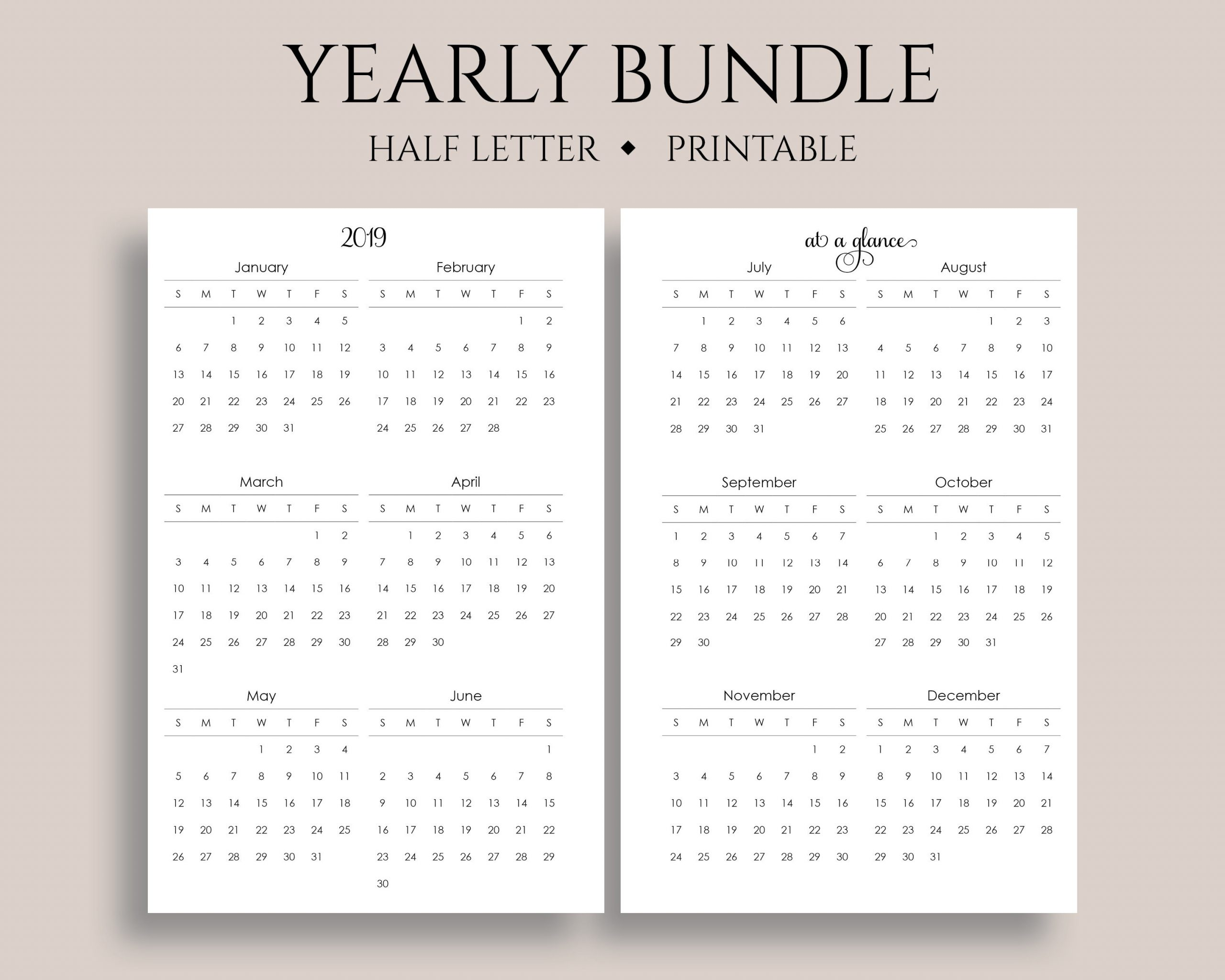 "Yearly Calendar Bundle Printable Planner Inserts, 2019 + 2020  Year-At-A-Glance, Important Dates ~ Half Letter / 5.5"" X 8.5"" Pdf Download"