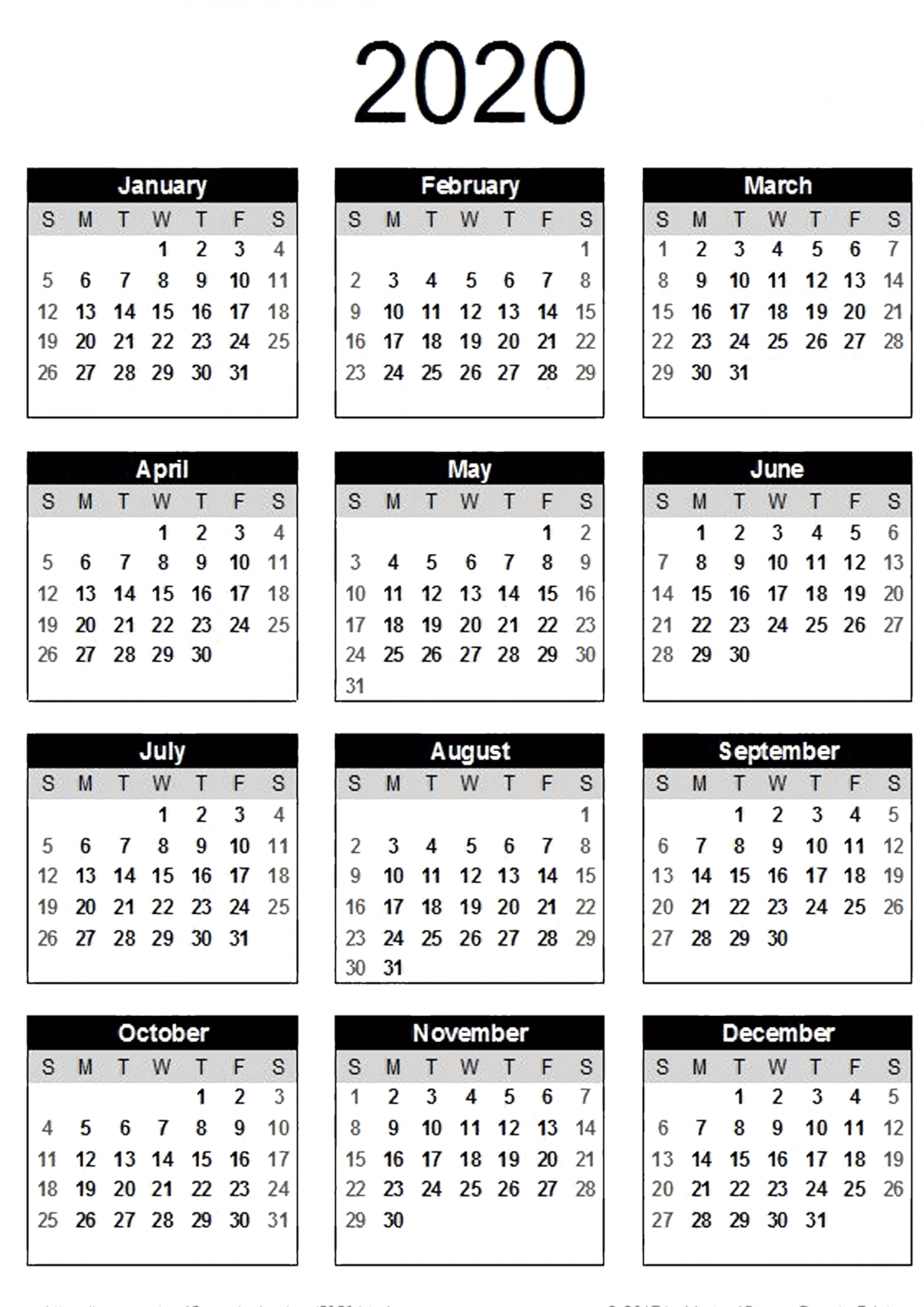 Yearly Calendar With Notes 2020 Pdf - 2019 Calendars For