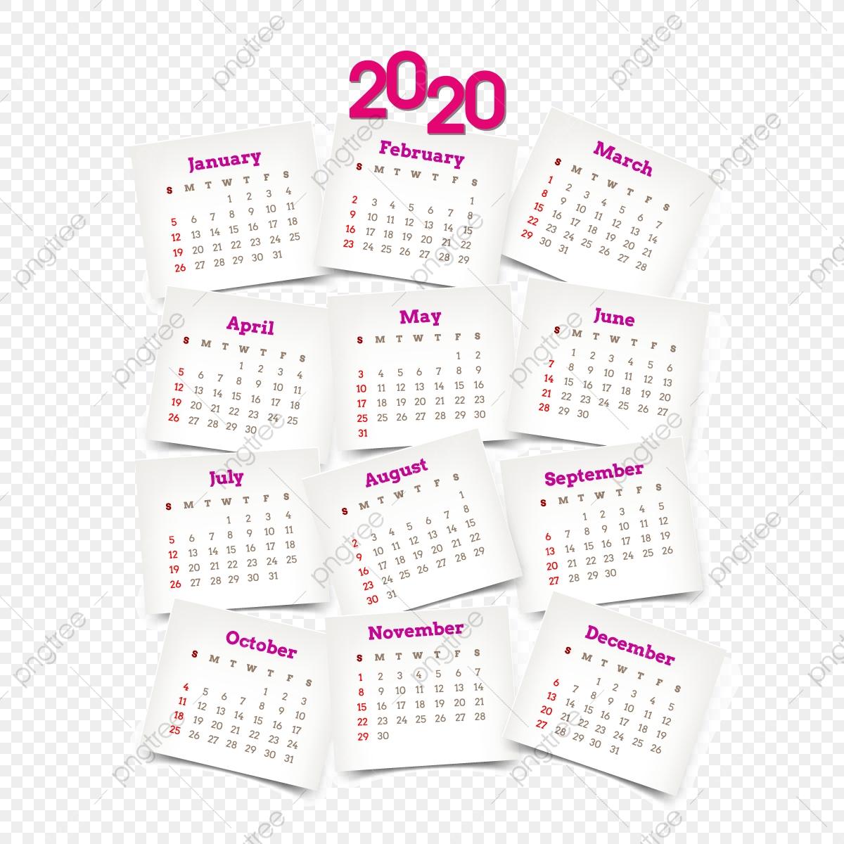 Yearly Pink Calendar 2020 2020 Calendar, Calendar 2020