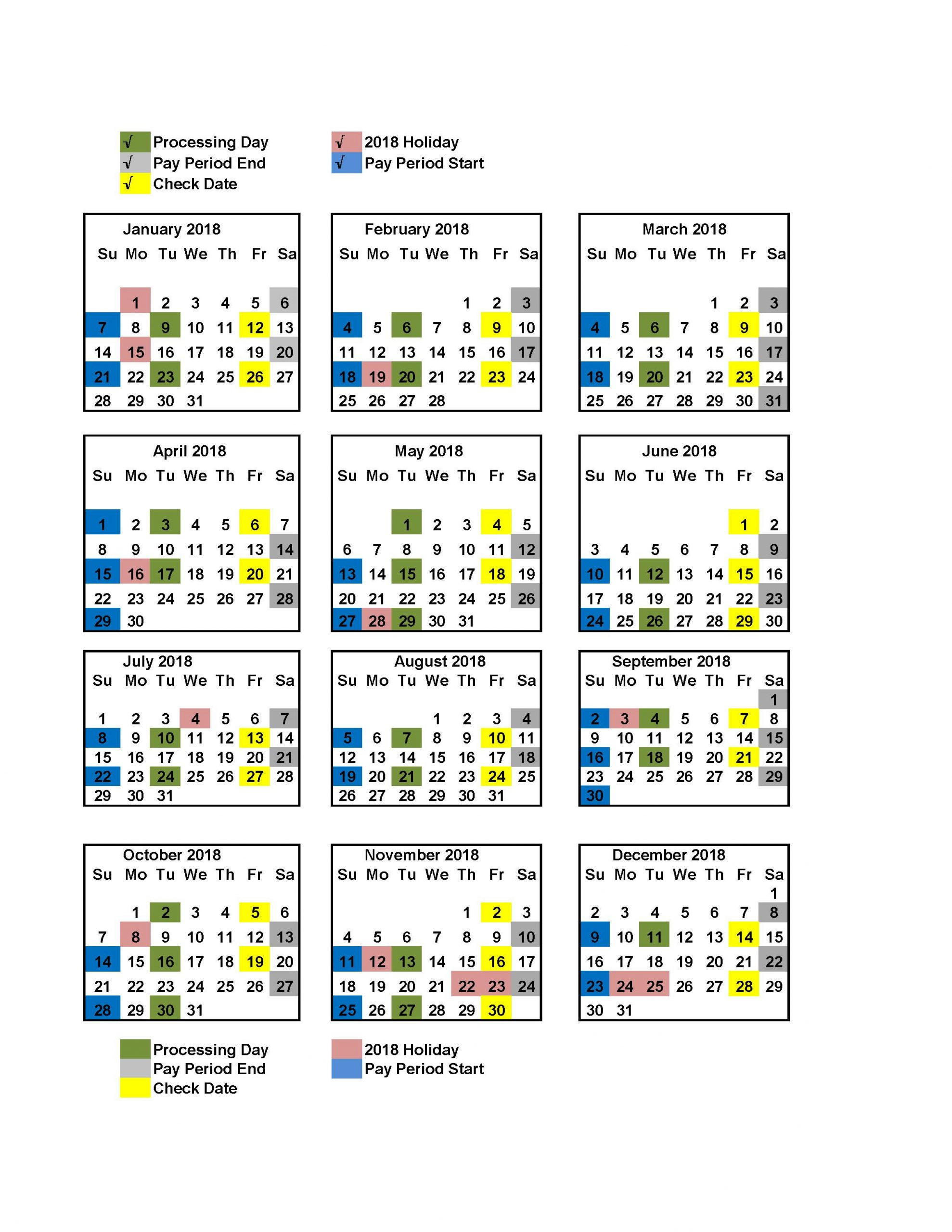 Your Pay Within 2018 Biweekly Payroll Calendar Federal