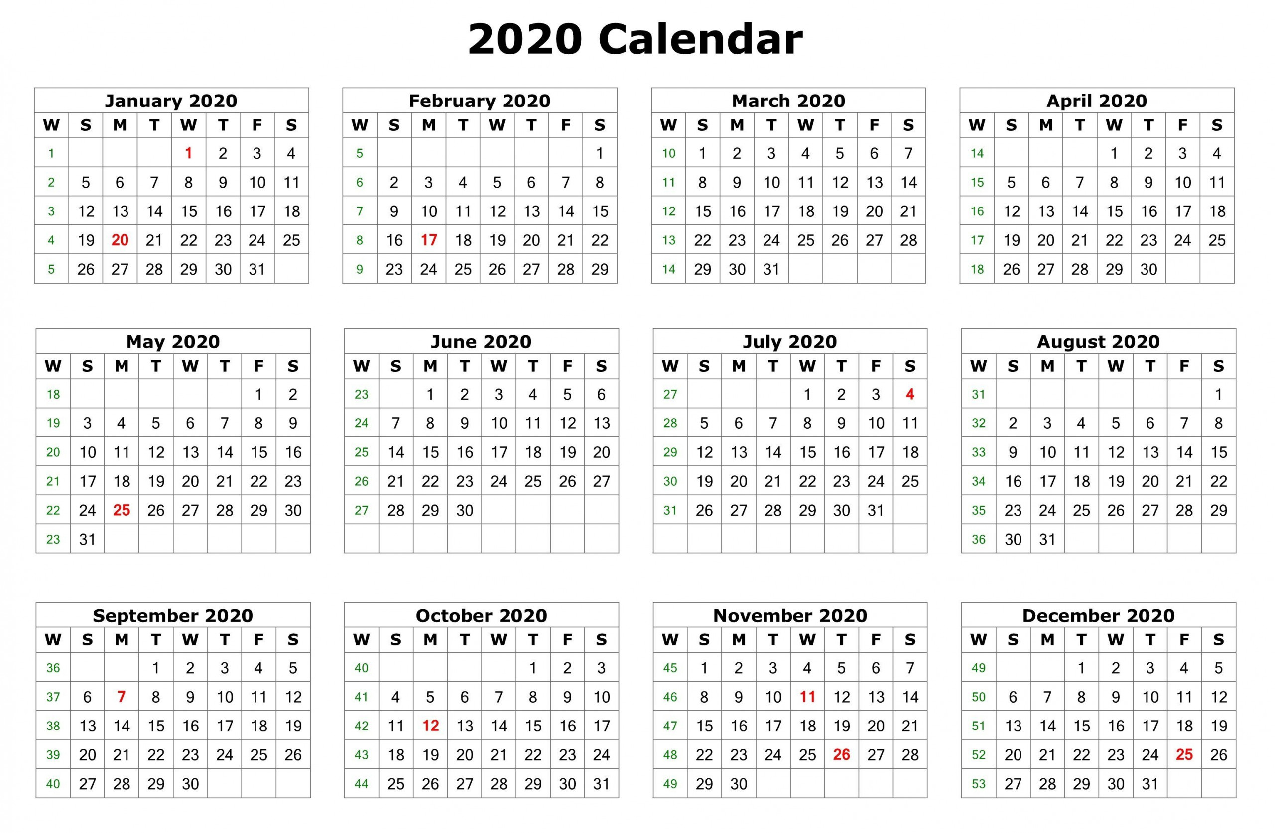 12 Month Calendar 2020 Printable With Holidays | Monthly