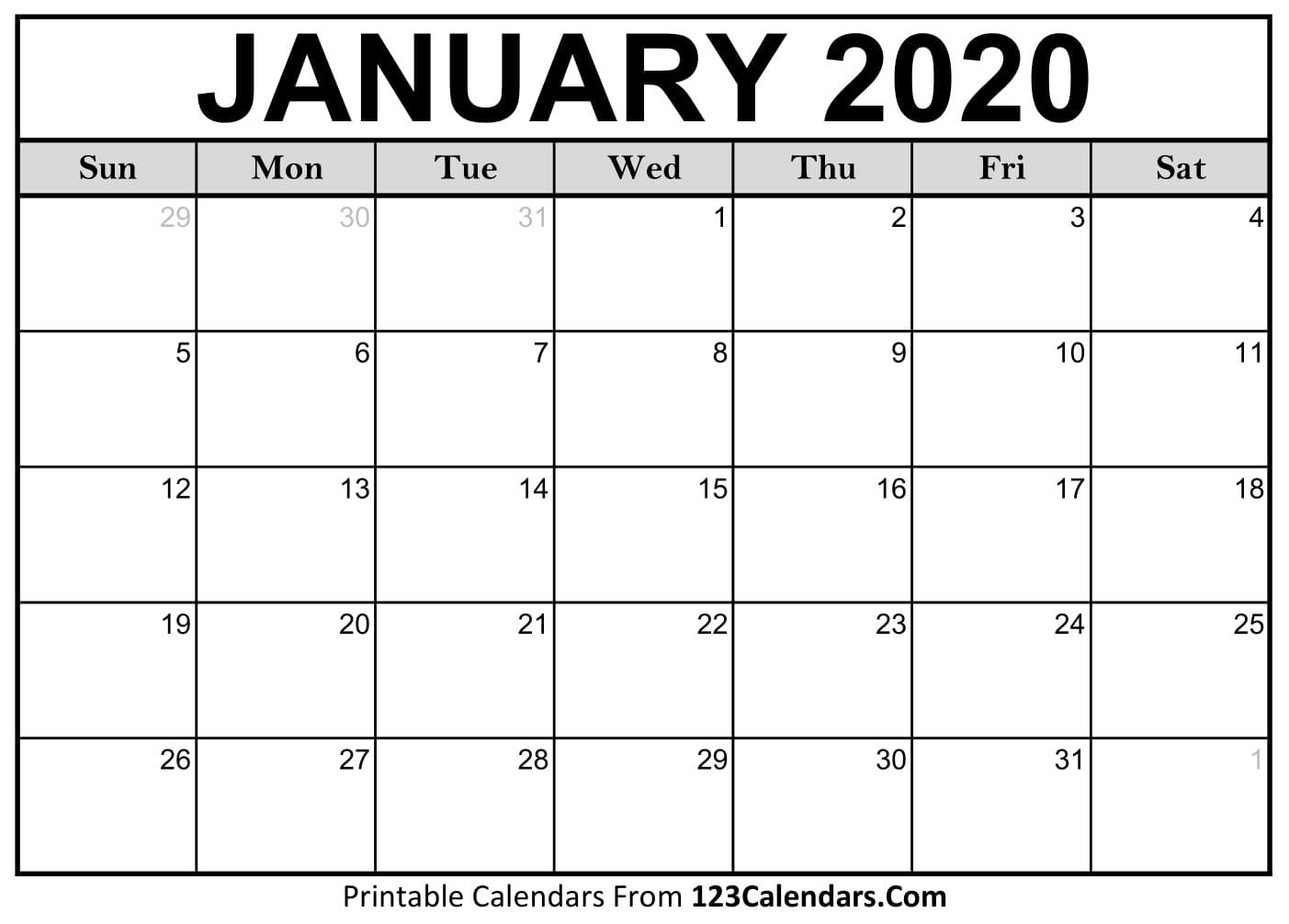 123 Calendar January 2020   Calendar For Planning