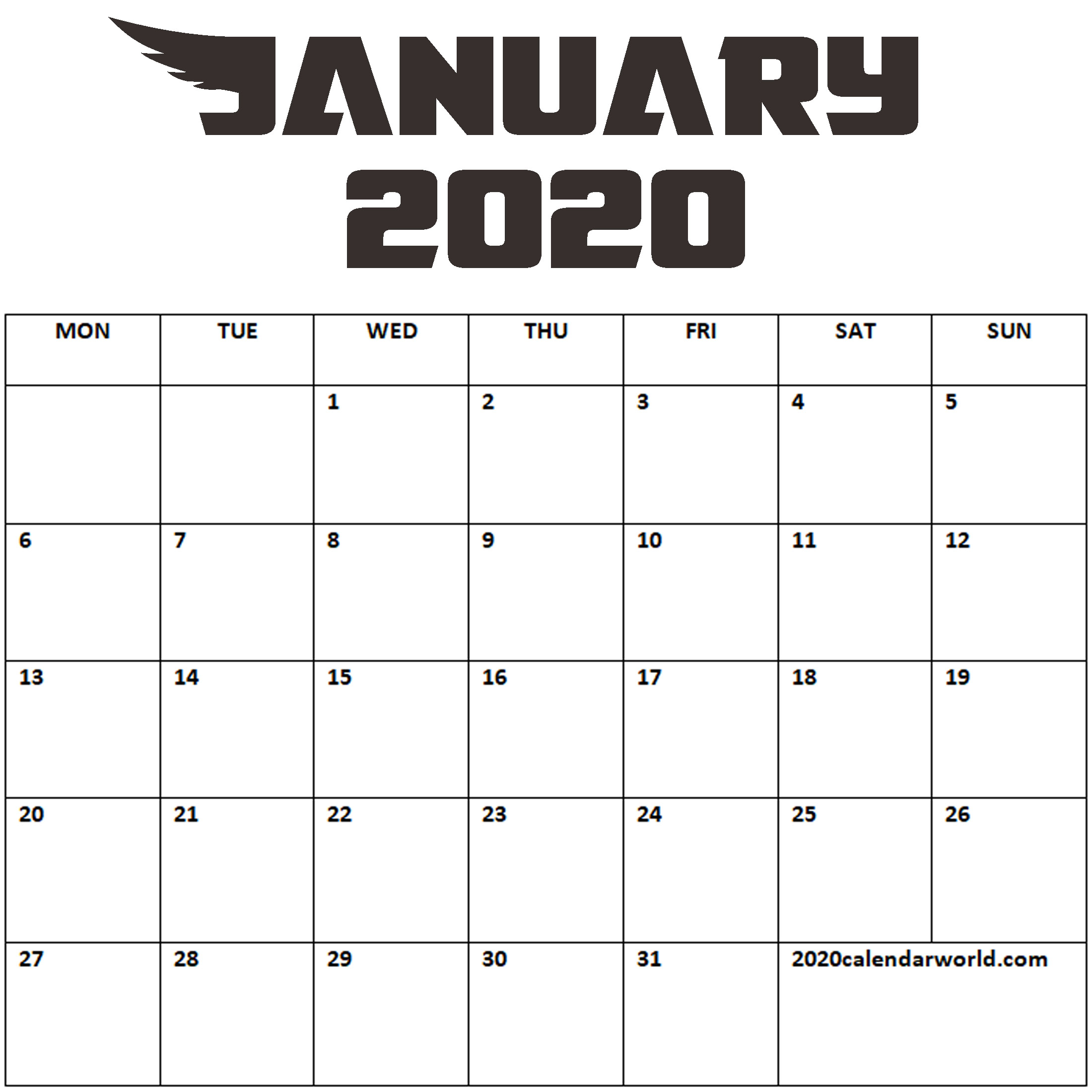 15+ January 2020 Calendar- Printable January 2020 Calendar