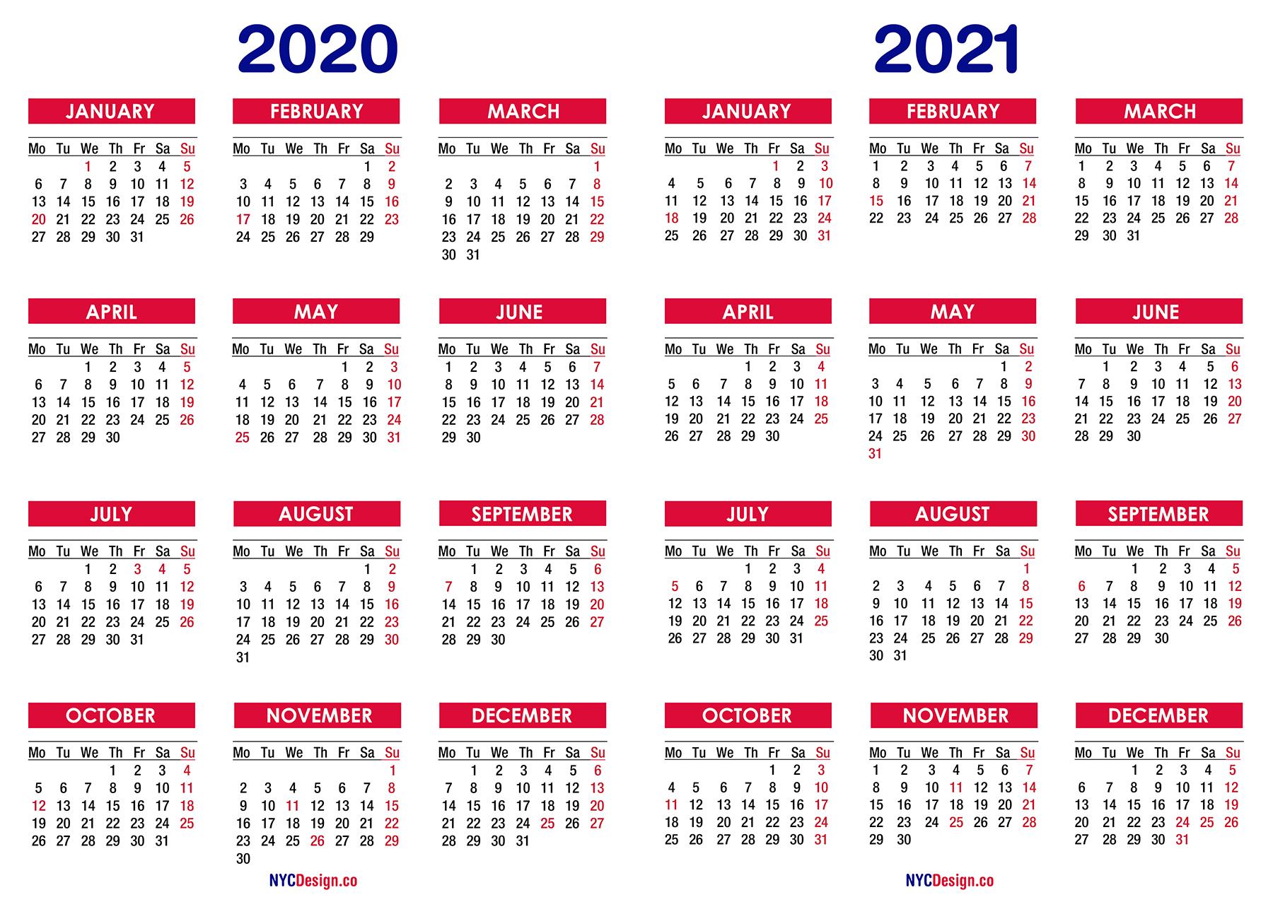 2 Year Calendar 2020 To 2020 | Calendar Printables Free