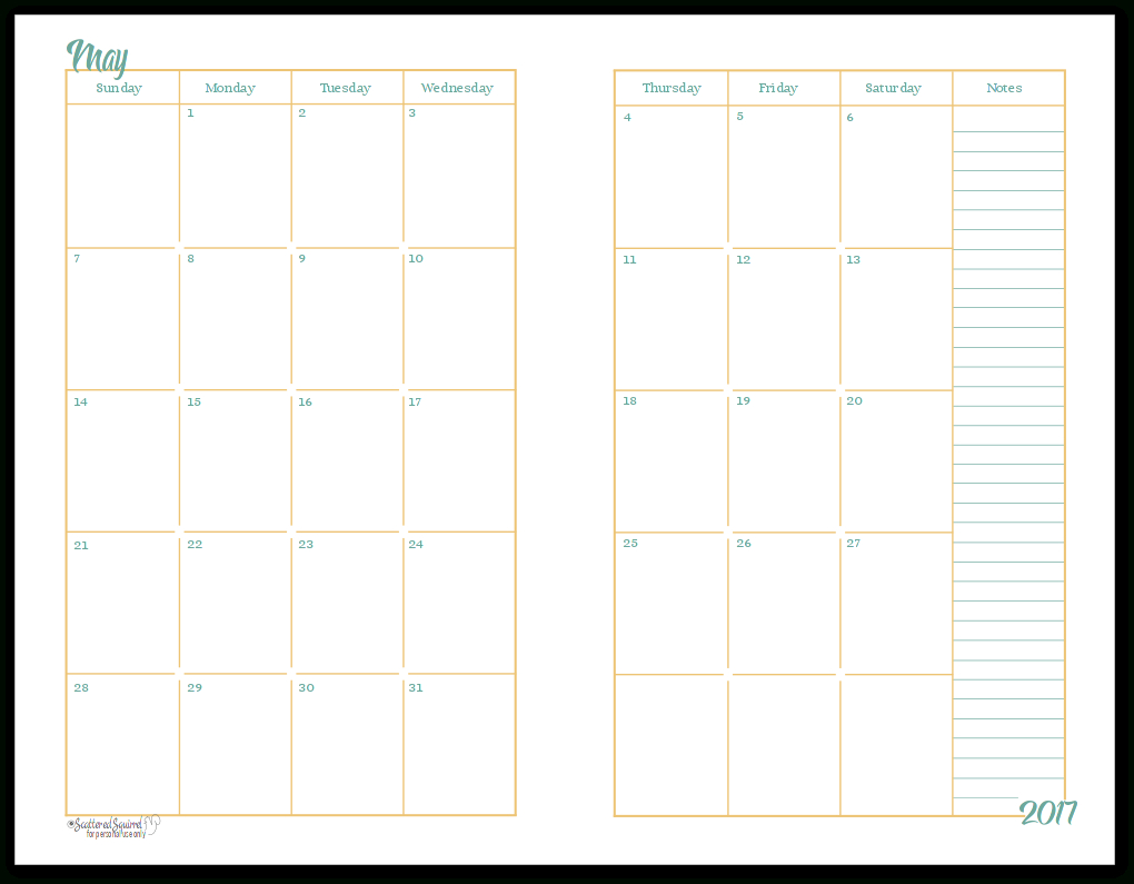 2017 Half-Size Monthly Calendar Printables Are Finally Ready