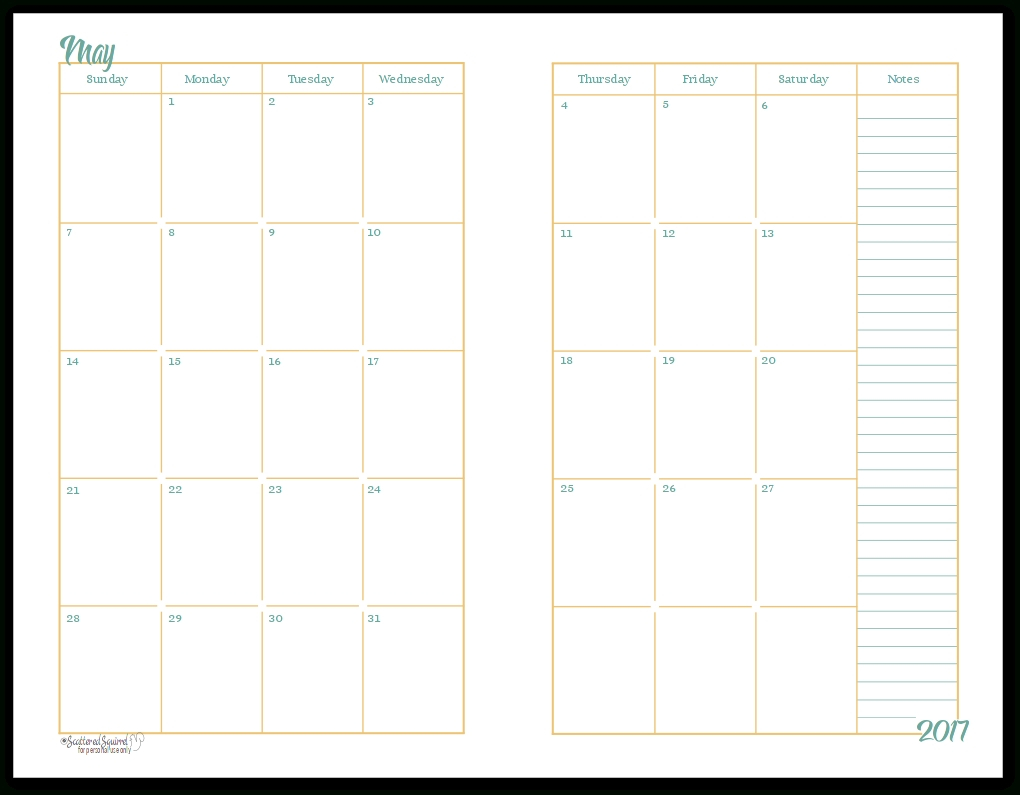 2017 Half-Size Monthly Calendar Printables | Planners-2 Page