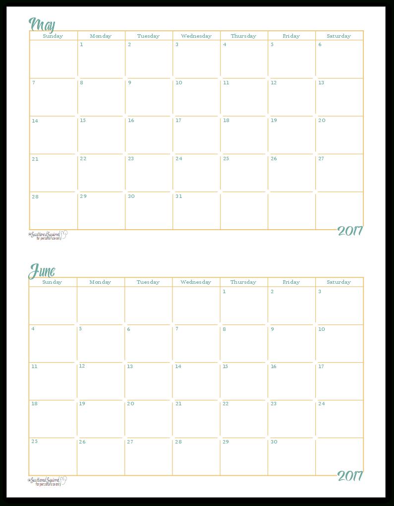 2017 Half-Size Monthly Calendar Printables | Print Calendar