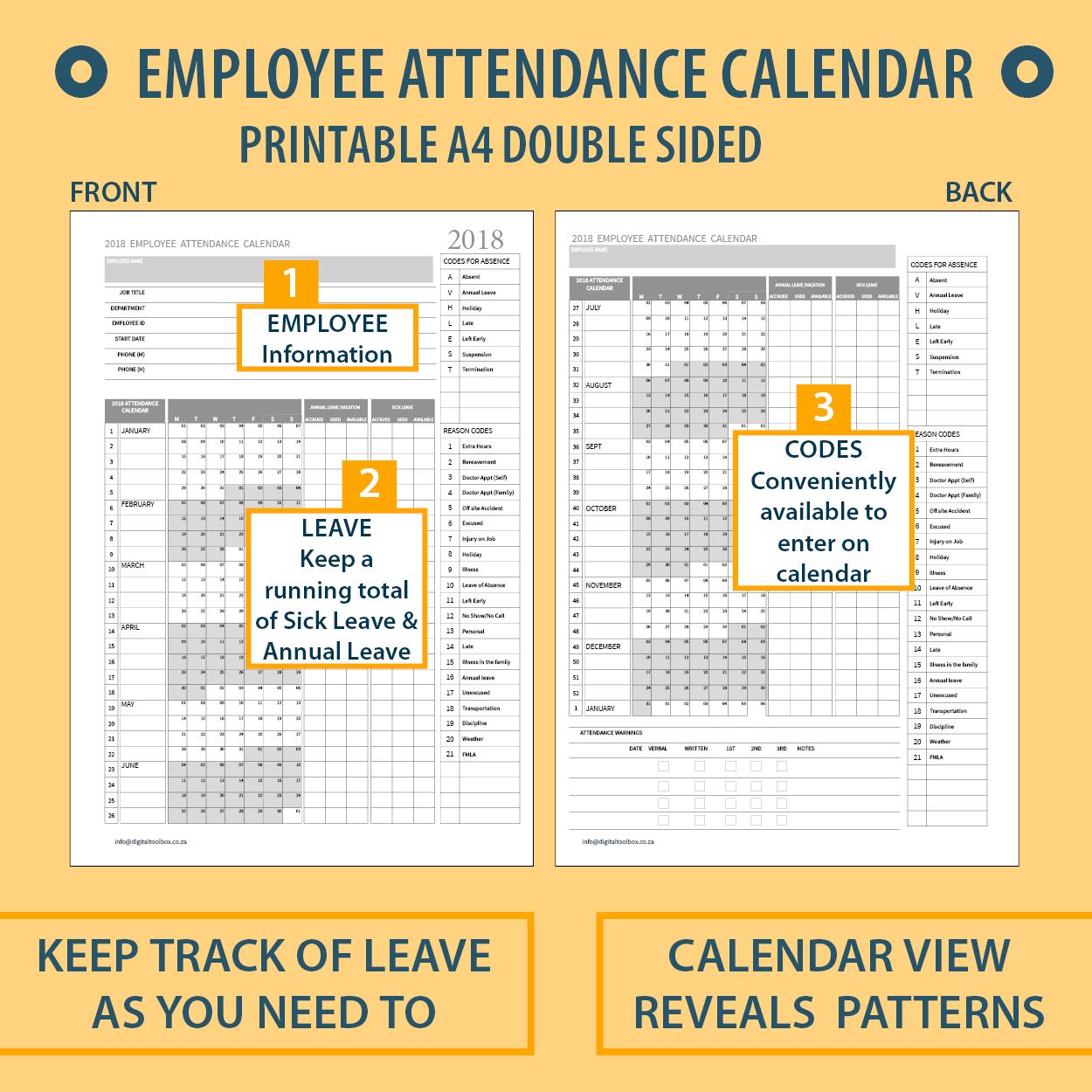 2020 A4 Printable Employee Attendance Calendar/tracker For
