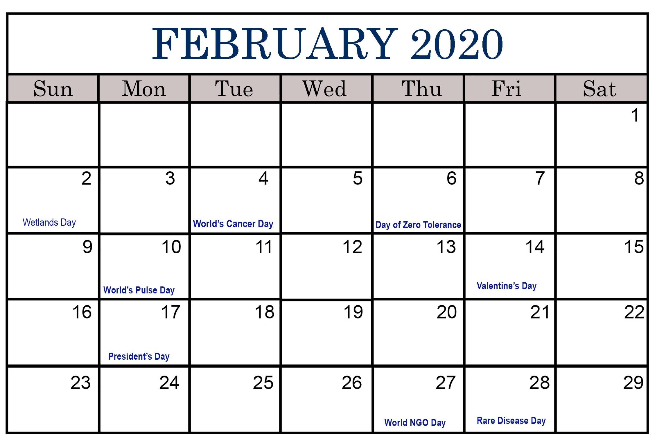 2020 Calendar February Festival | Printable Calendar 2020