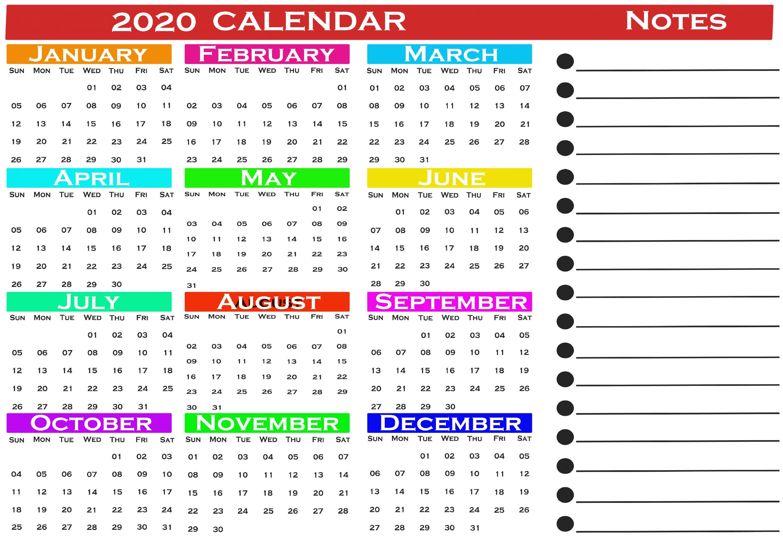 2020 Calendar- Free Printable 2020 Calendar Pdf- Jan To Dec