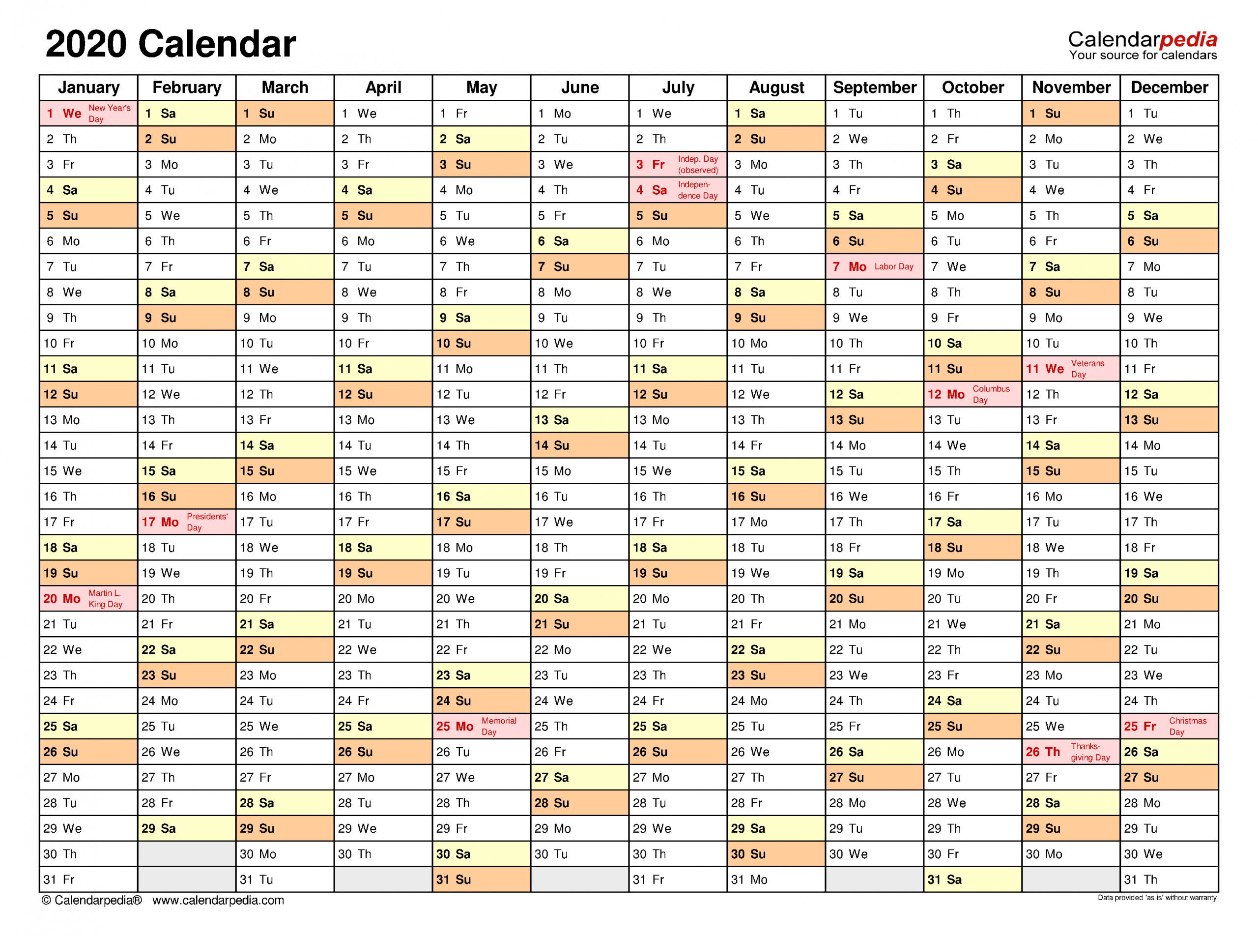 2020 Calendar - Free Printable Microsoft Word Templates