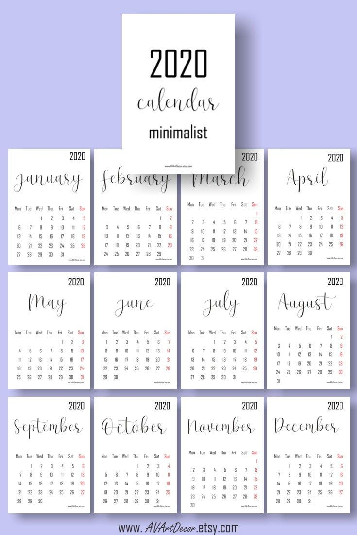 2020 Calendar Printable Calendar 2020 Digital Download Wall