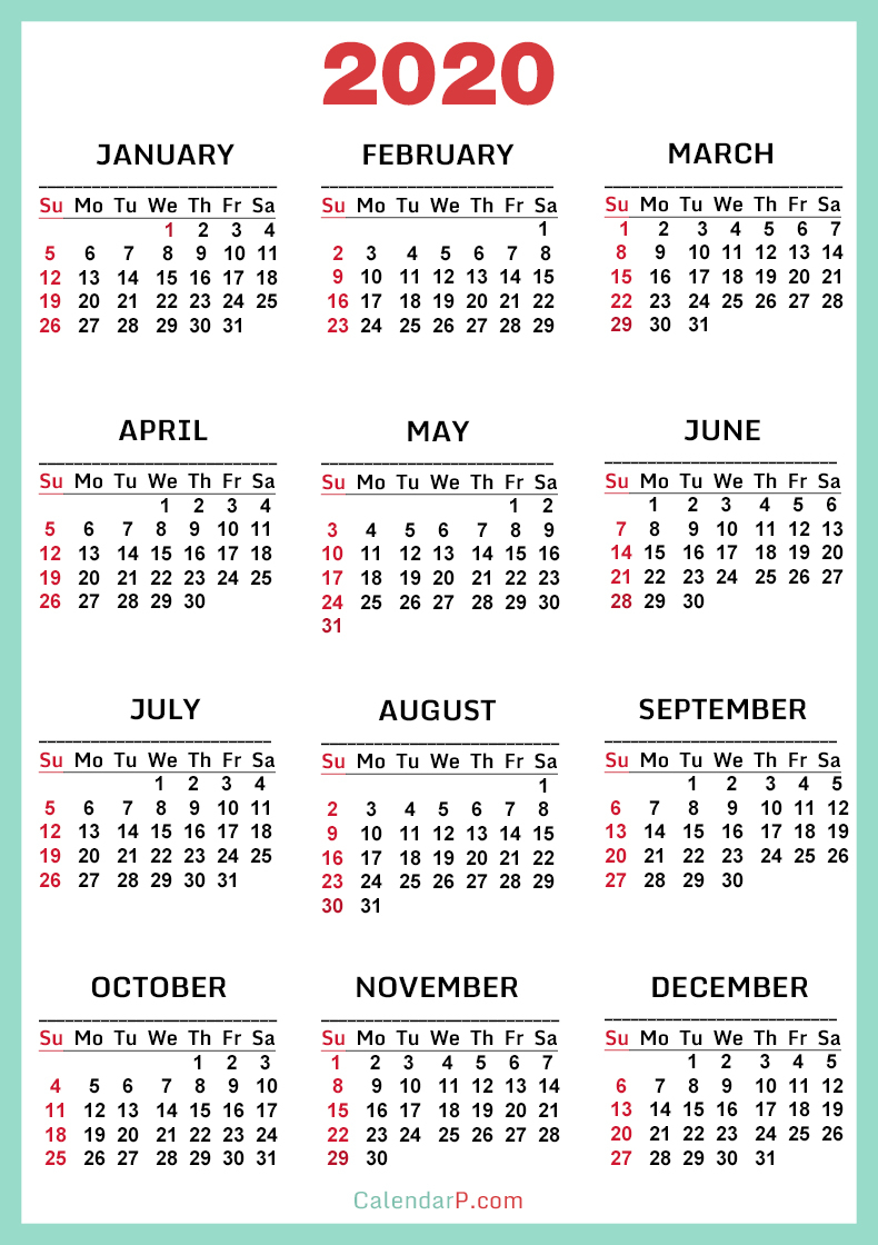 2020 Calendar, Printable Free, Turquoise, Red – Sunday Start