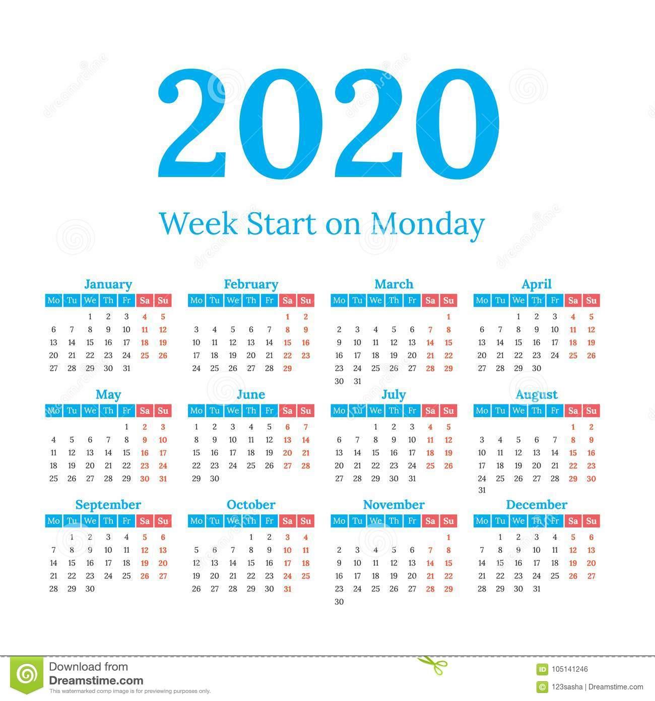 2020 Calendar Start On Monday Stock Vector - Illustration Of