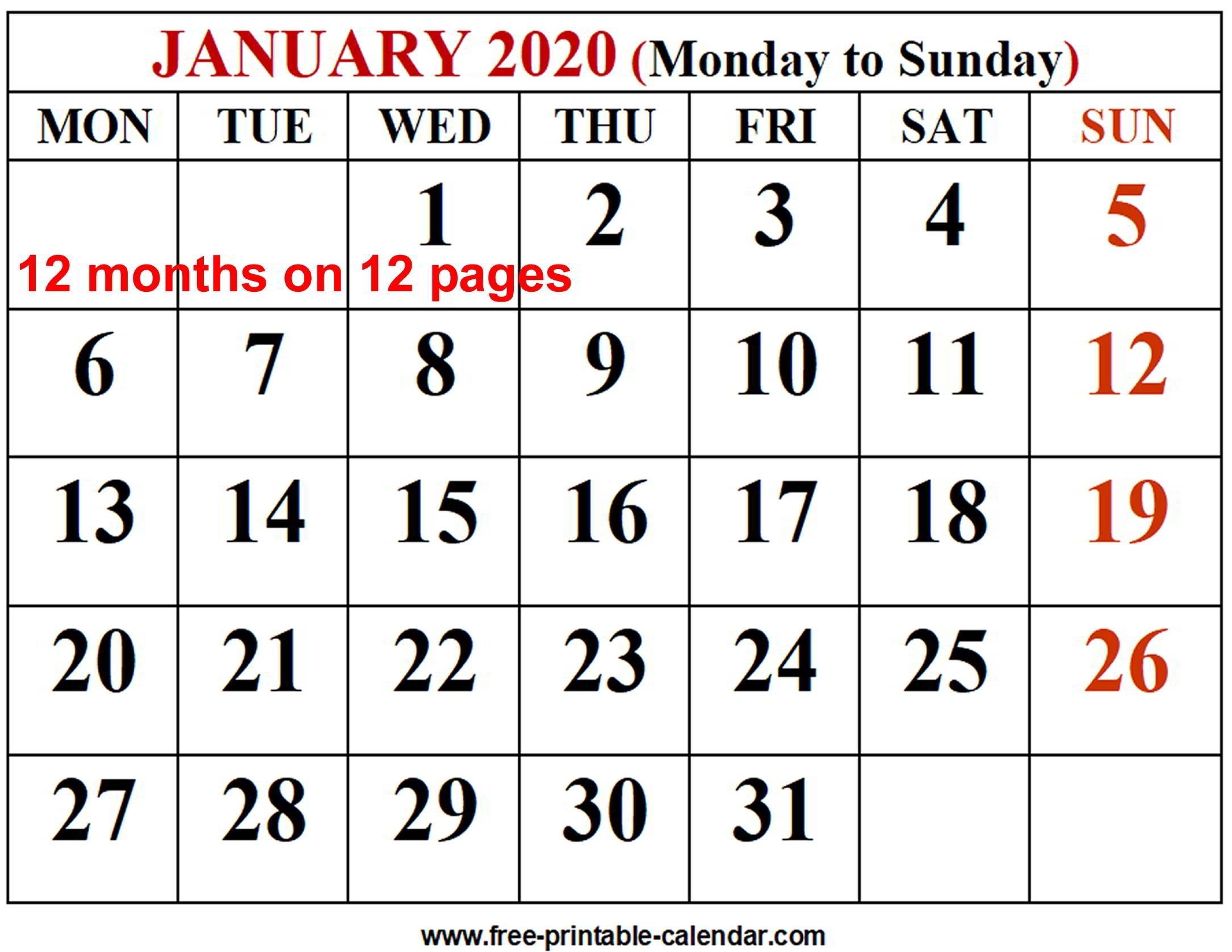 2020 Calendar Template – Free-Printable-Calendar-2020