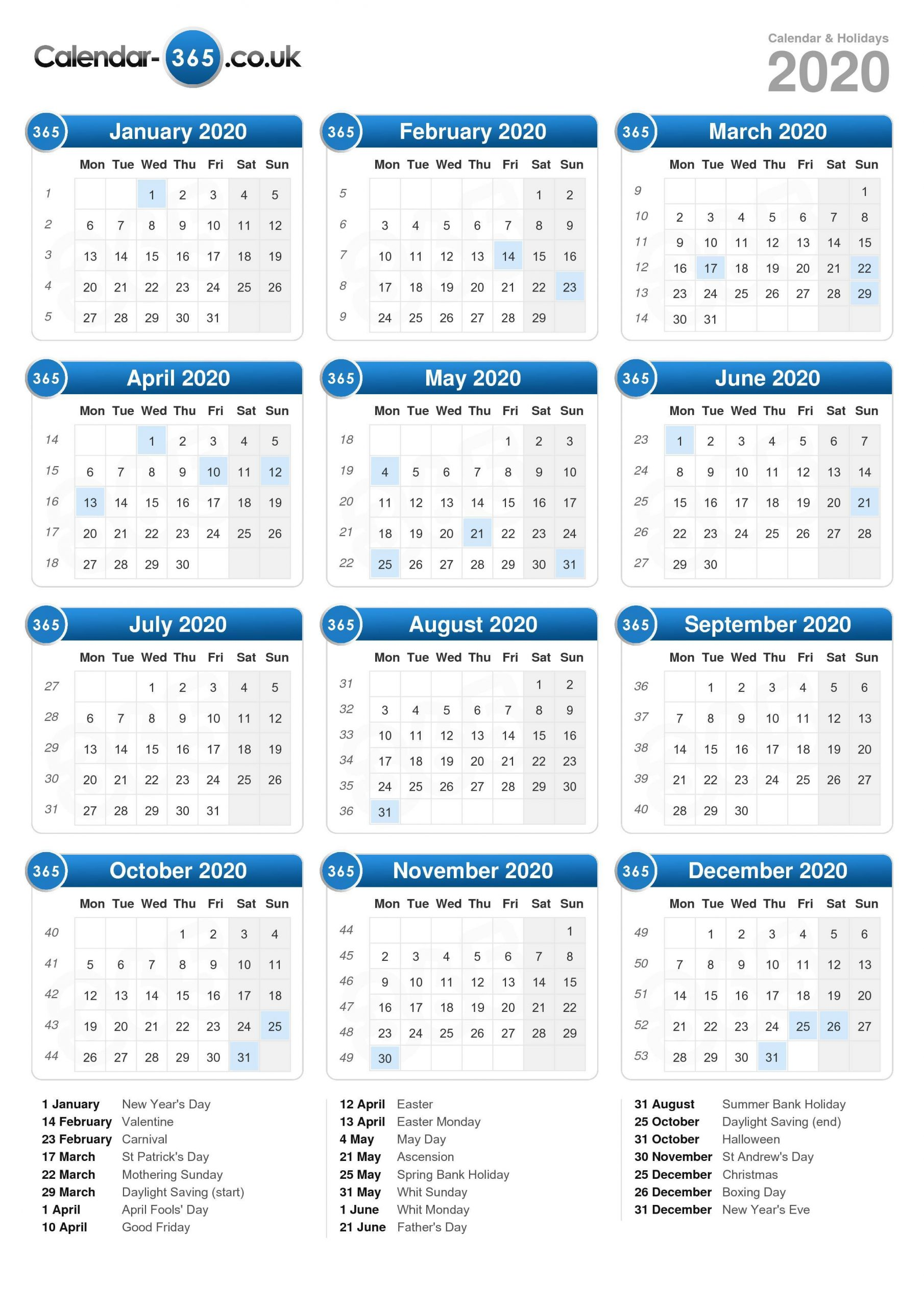 2020 Calendar Uk – Printable Year Calendar