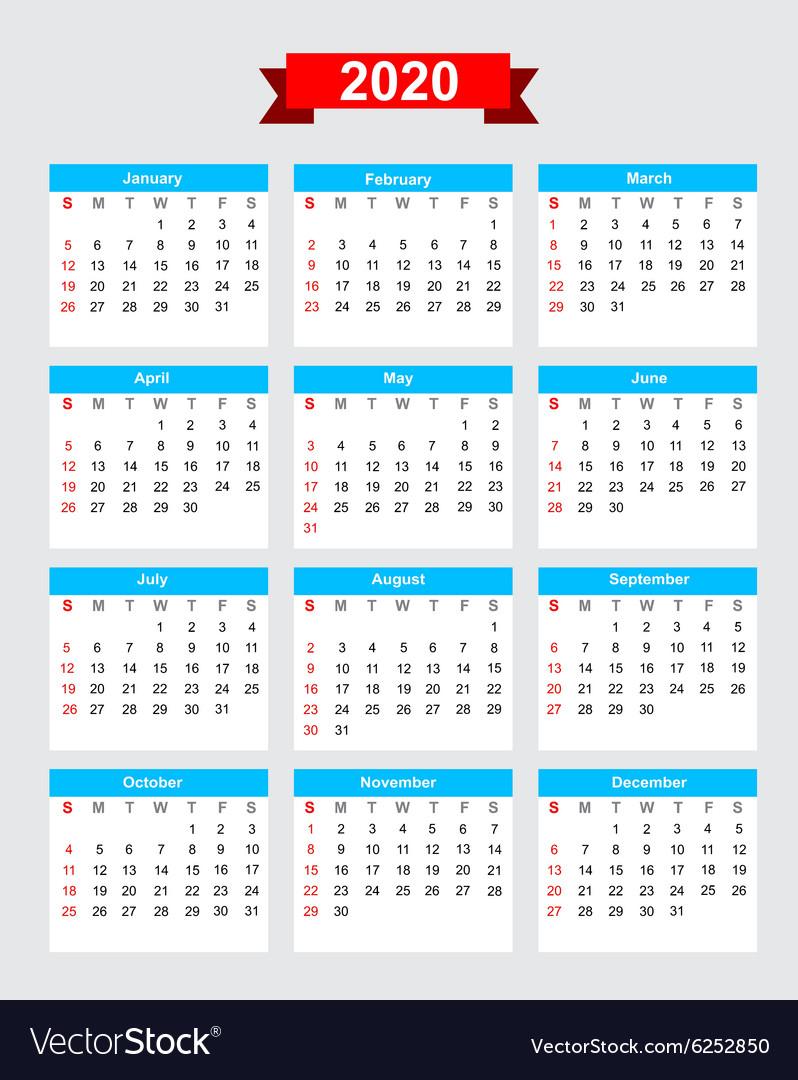 2020 Calendar Week Start Sunday