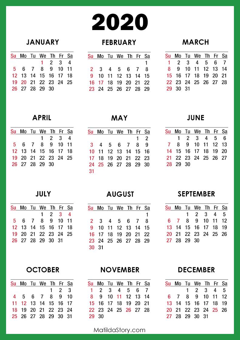 2020 Calendar With Holidays, Printable Free, Green – Sunday