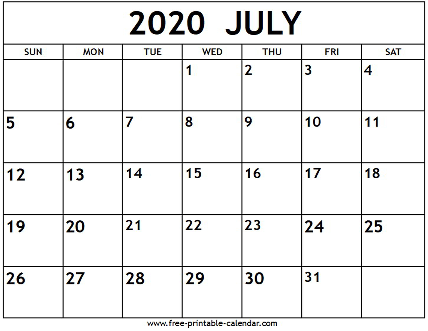 2020 July Calendar - Temusi