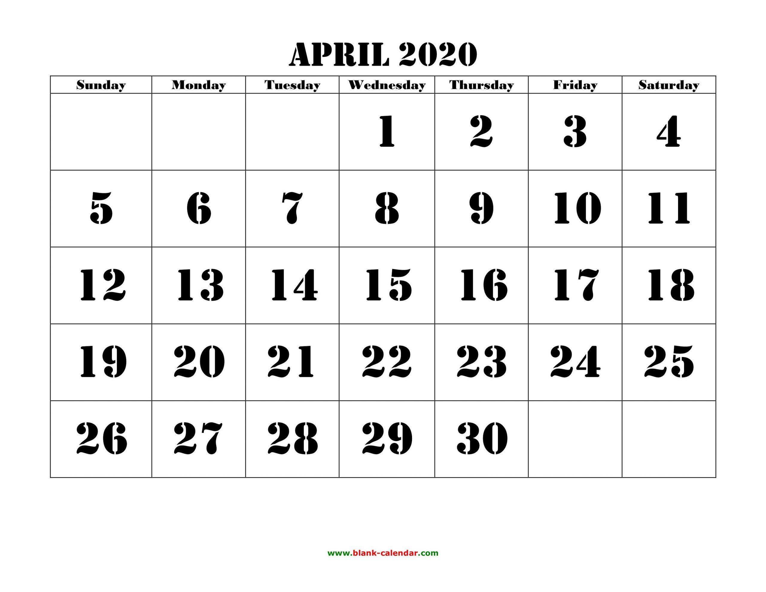 2020 Large Printable Calendar