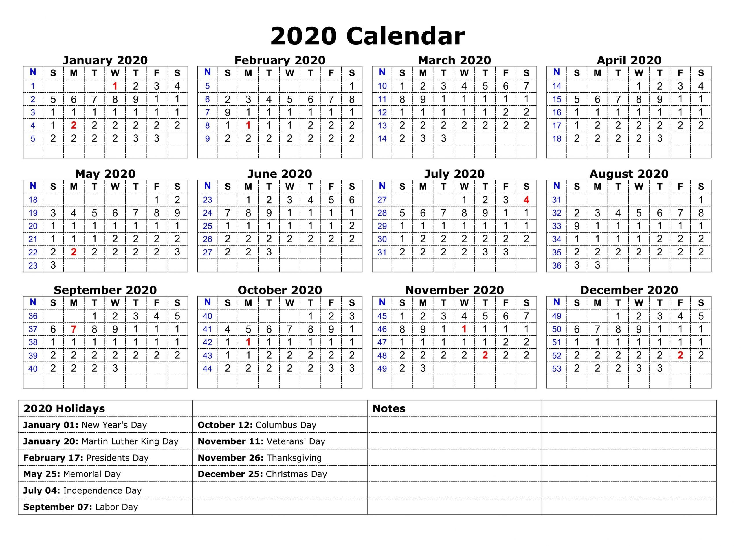 2020 One Page Calendar Printable | Monthly Calendar