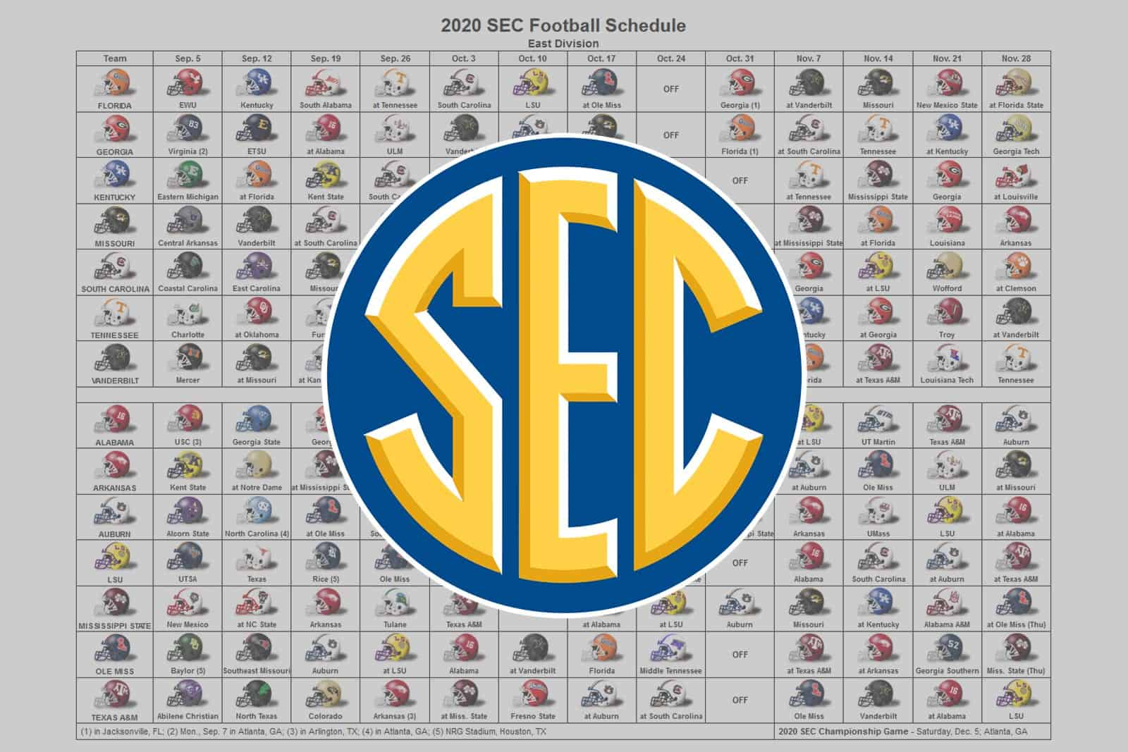 2020 Sec Football Helmet Schedule
