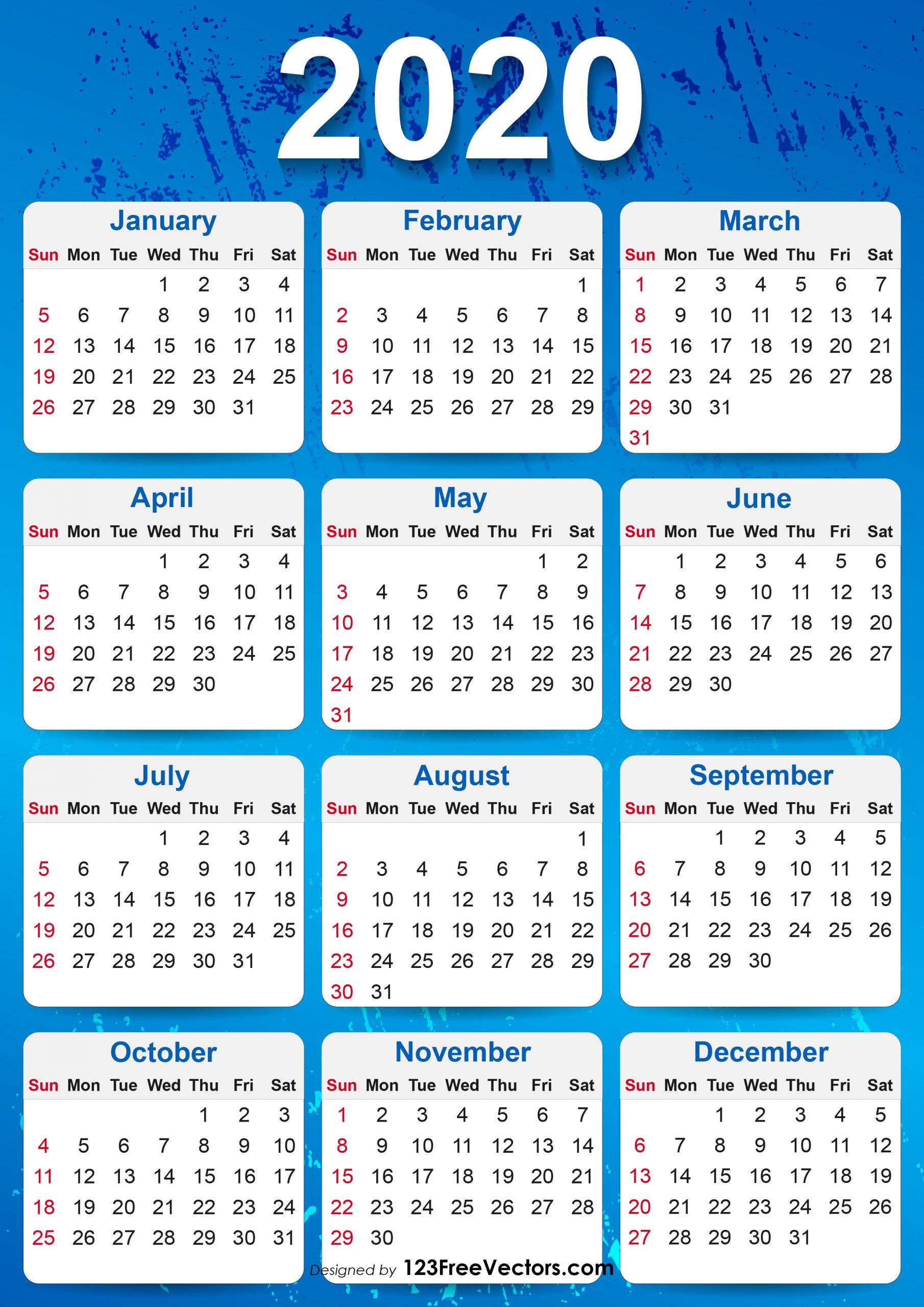 2020 Yearly Calendar Printable