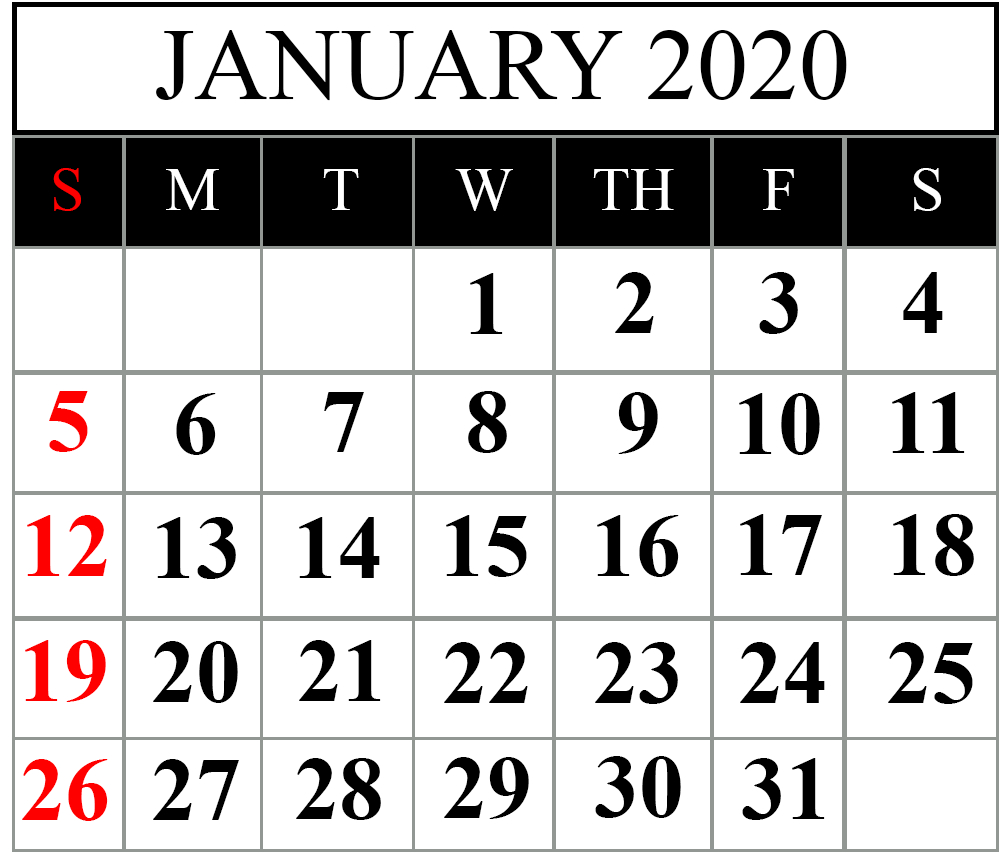 21+Free Blank Calendar January 2020 Printable Fillable