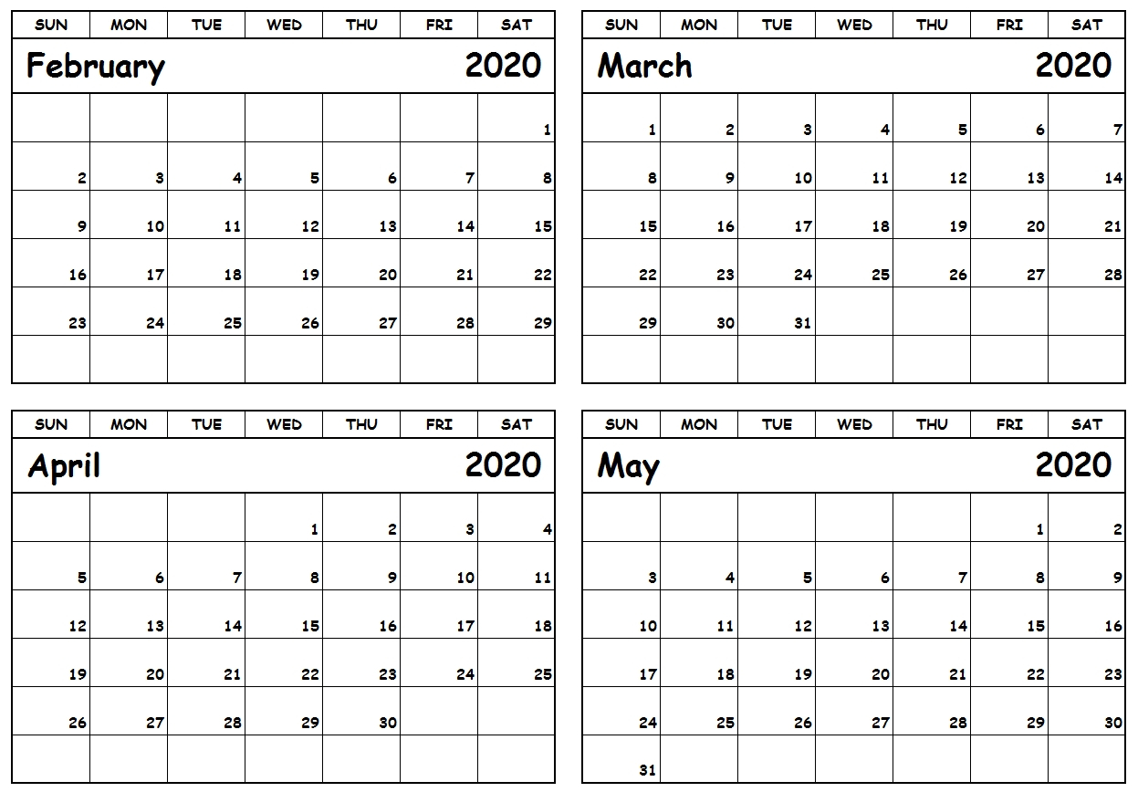 4 Month Printable Calendar 2020 | Monthly Printable Calender