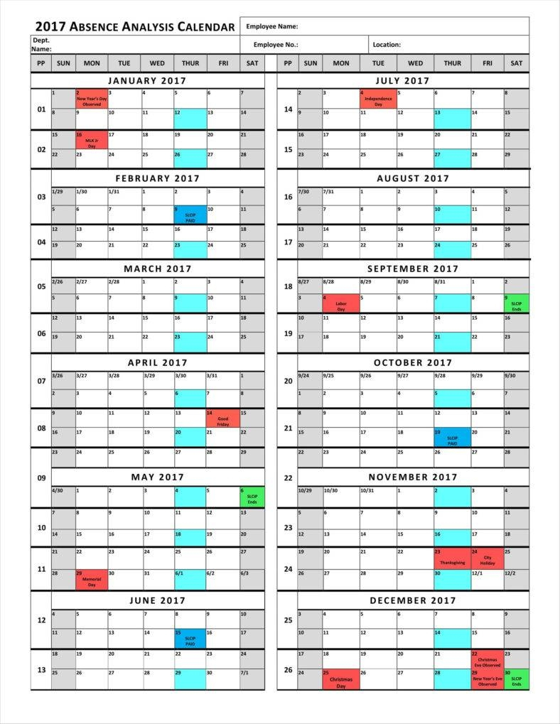 9+ Absence Calendar Templates Free Pdf, Excel Format