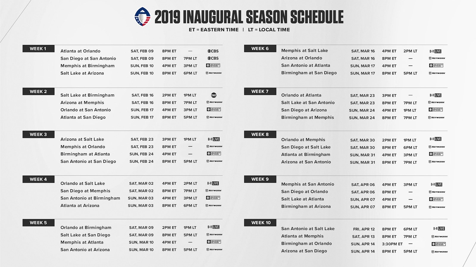 Aaf Football: 2019 Season Schedule For Alliance Of American