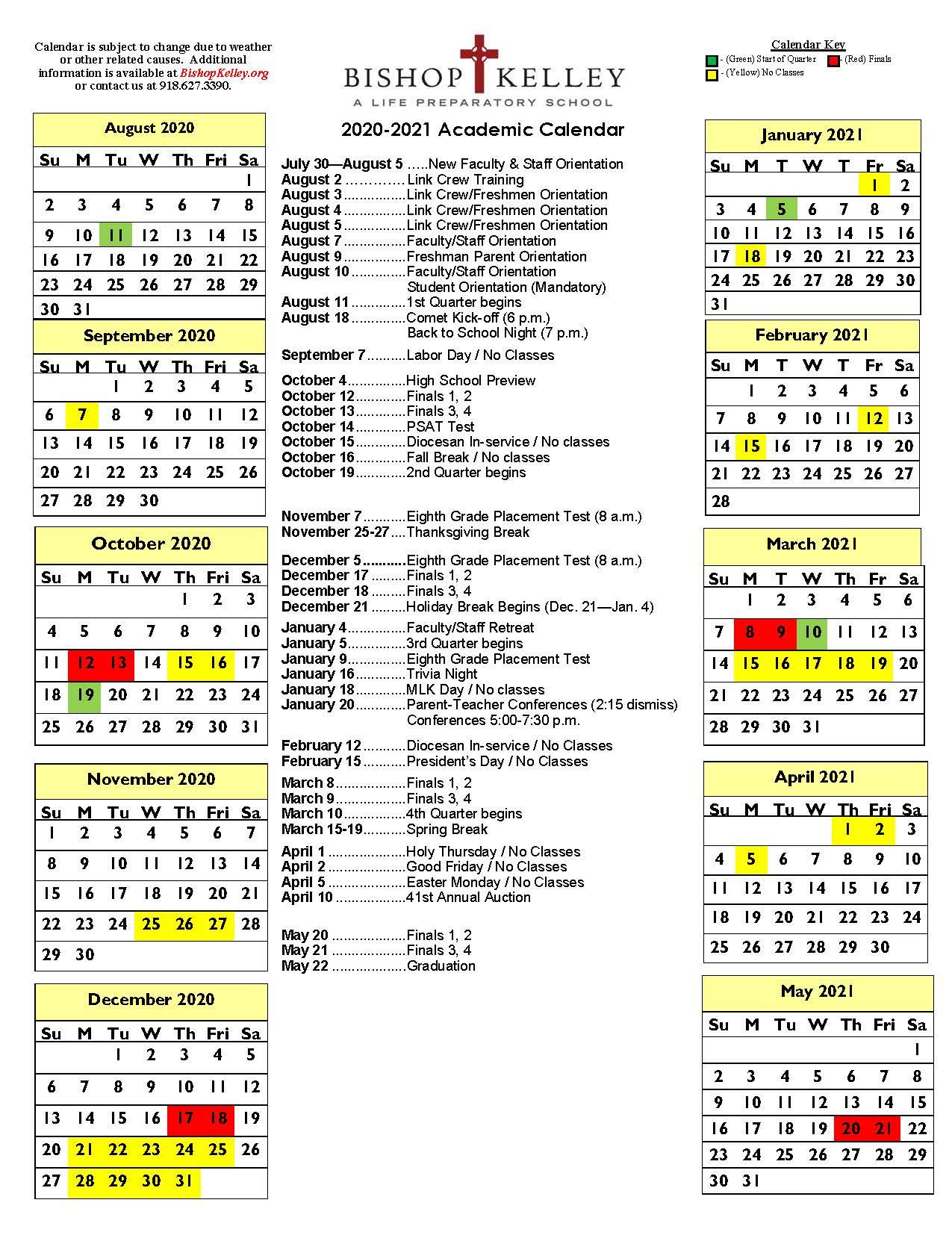 Academic Calendars | Bishop Kelley