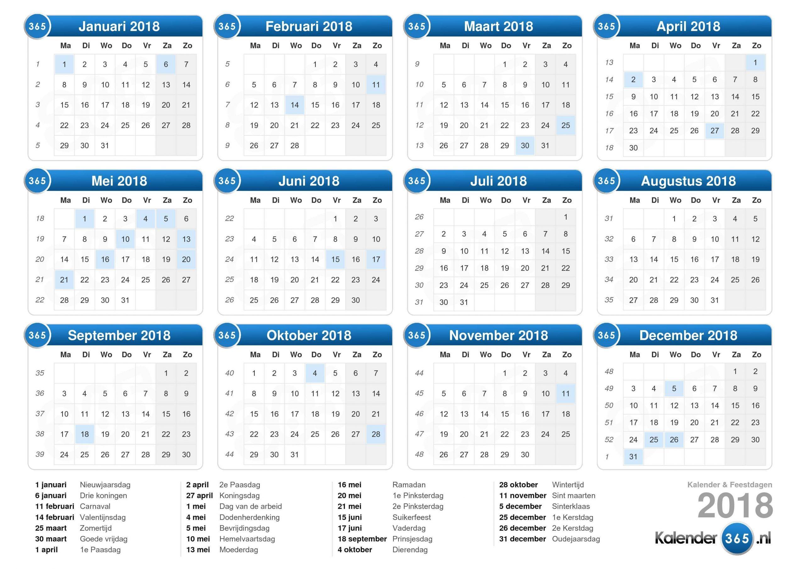 Afbeeldingsresultaat Voor Kalender 2018 | Afdrukbare