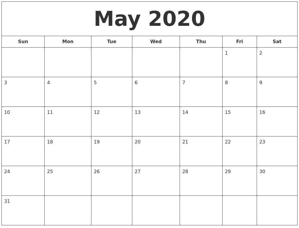 April 2020 Calendar, May 2020 Printable Calendar