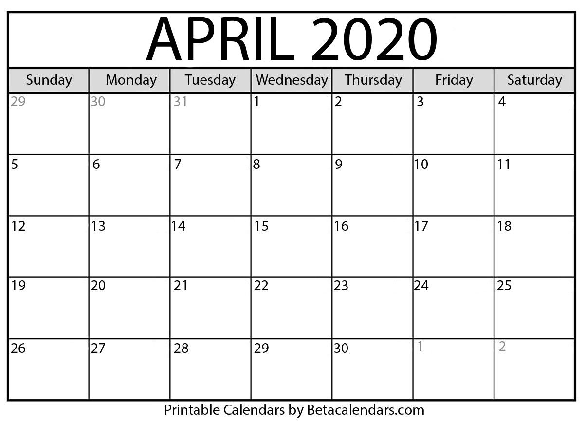 April 2020 Calendar Template Di 2020