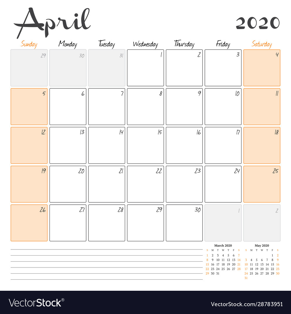 April 2020 Monthly Calendar Planner Printable