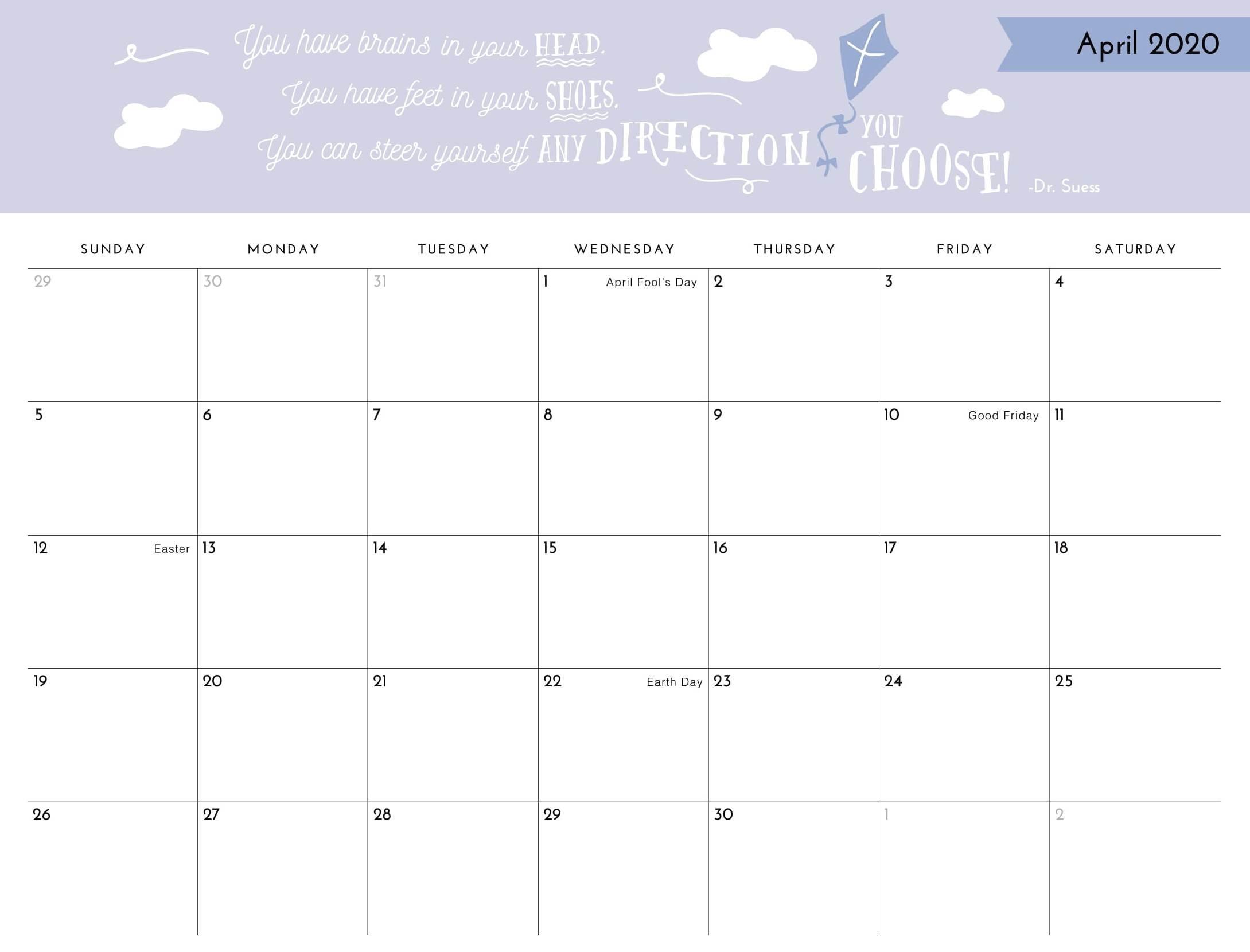 April 2020 Printable Calendar Template With Holidays - Web