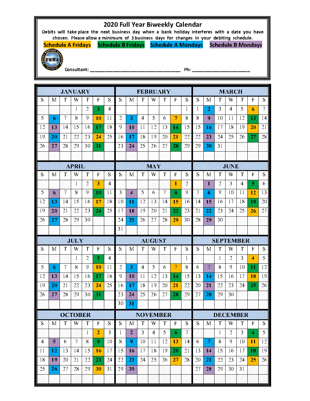 Biweekly Calendars - Bwma Member's Client Support