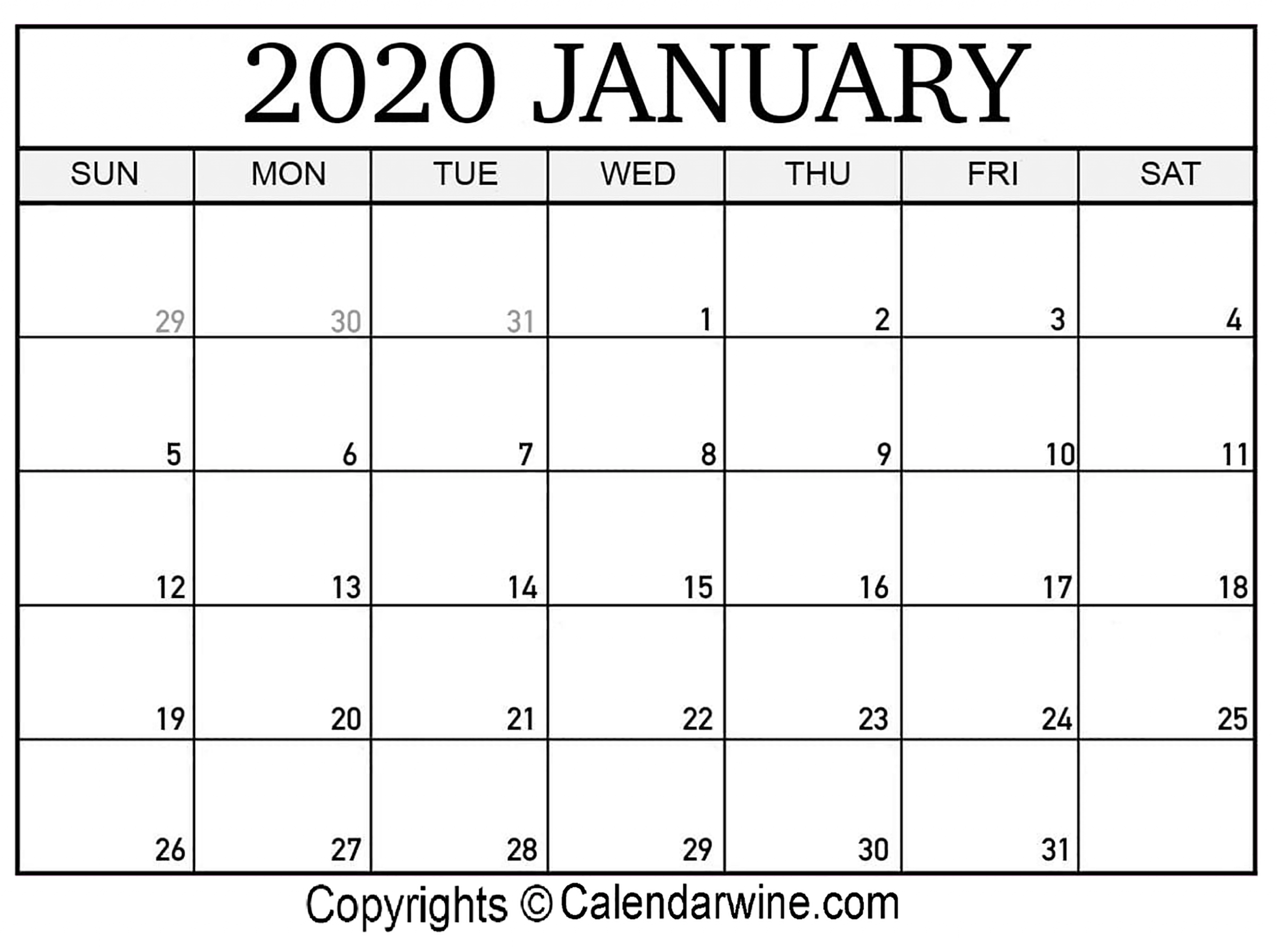 Black January 2020 Calendar Printable | Printable Calendar 2020