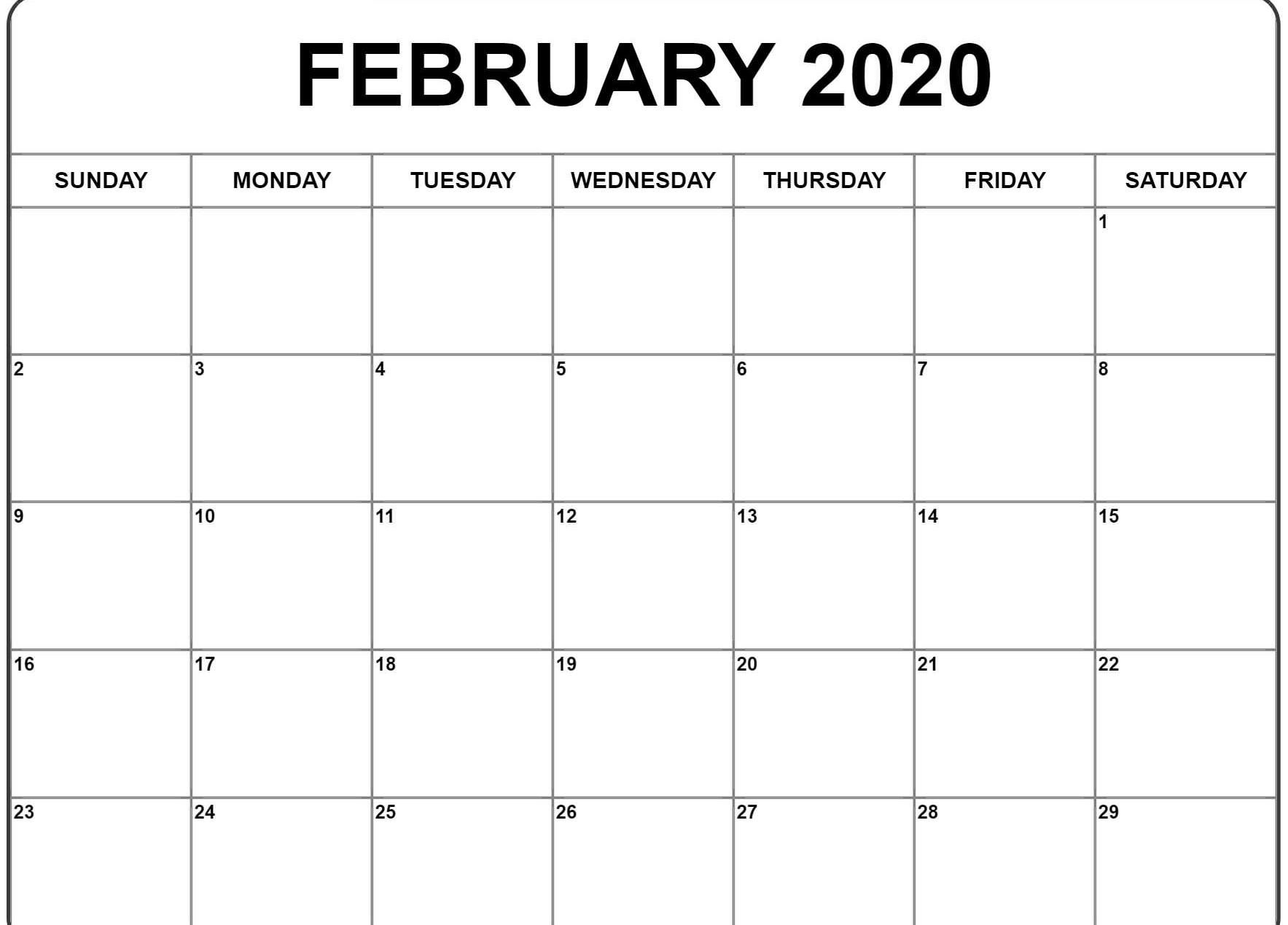 Blank February 2020 Calendar Template Pdf, Word, Excel