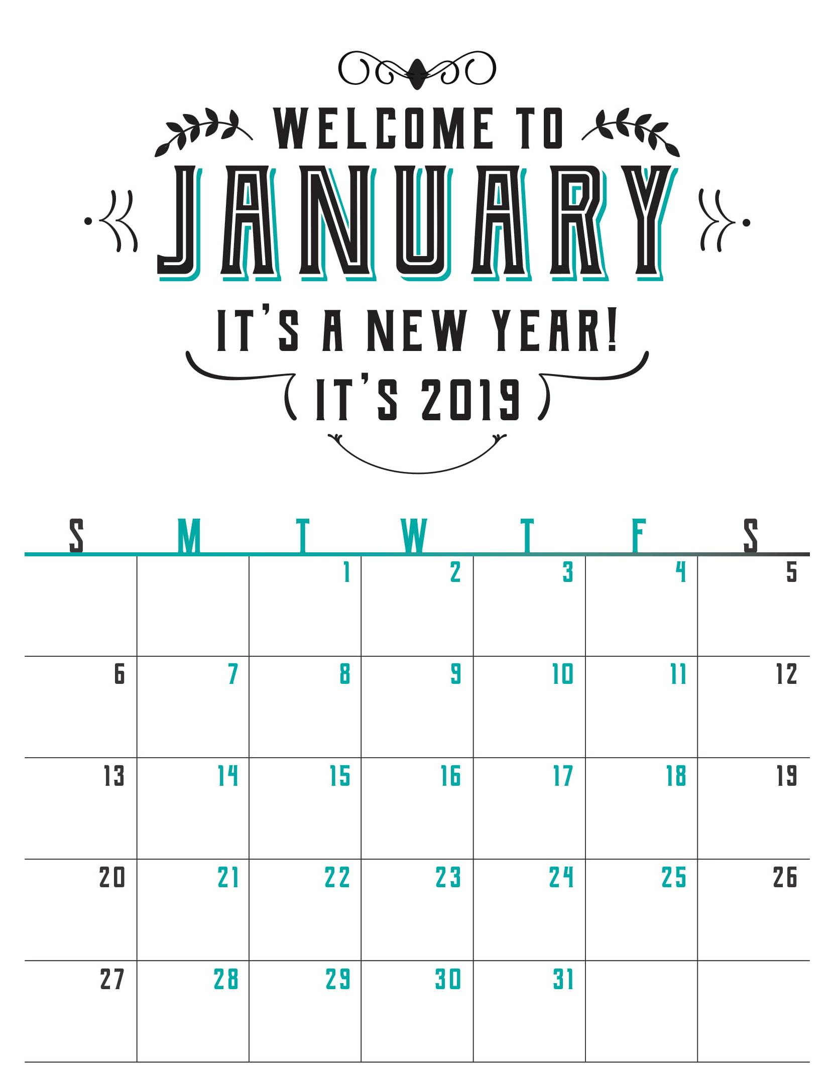 Blank January 2020 Calendar Printable Sheet Word - Set Your