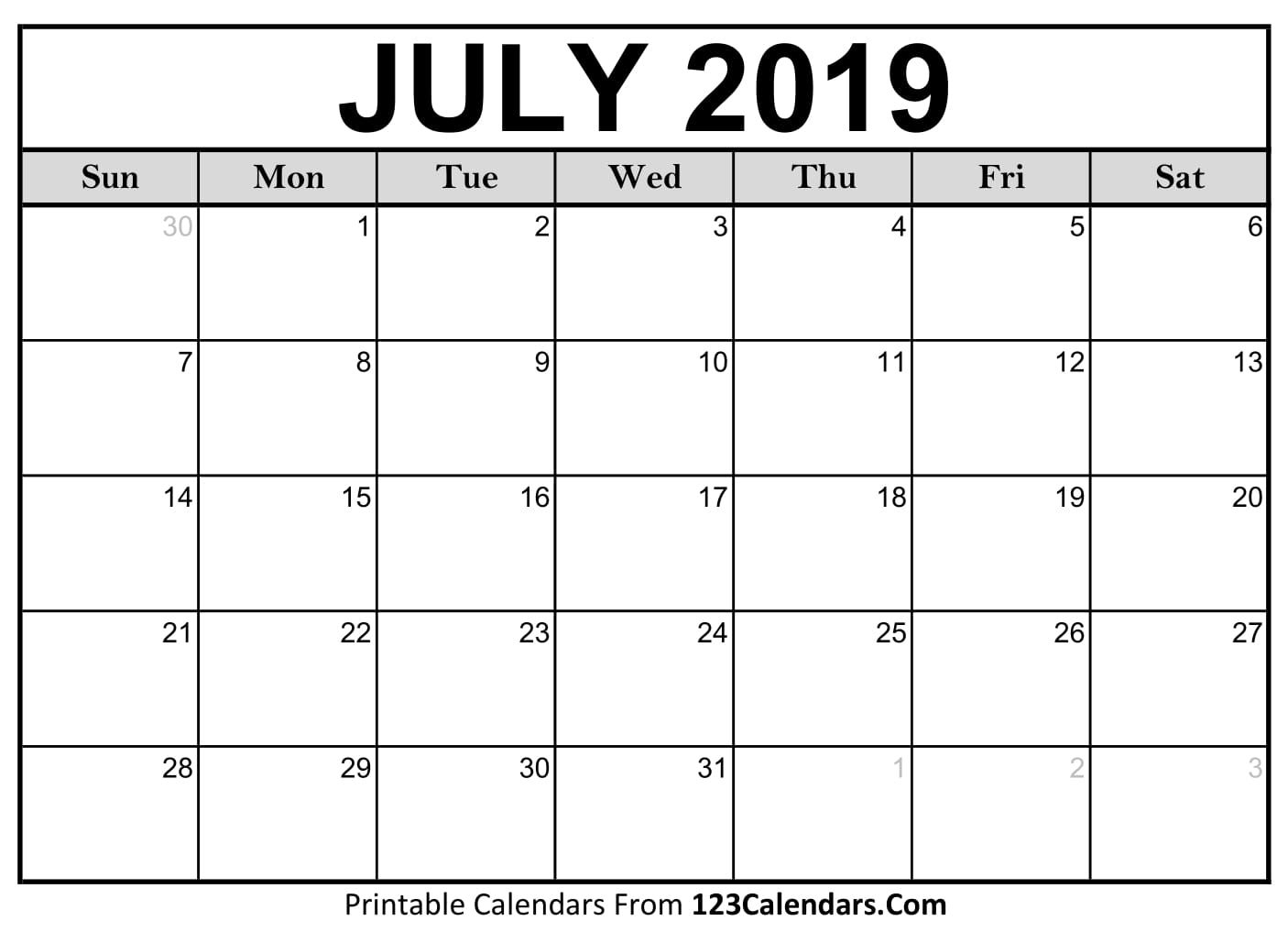 Blank July 2019 Monthly Calendar For United States. Download