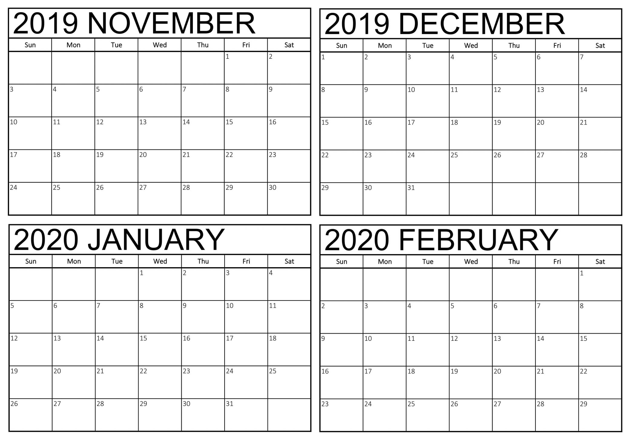Blank November 2019 To February 2020 Calendar – 2019-4 Month