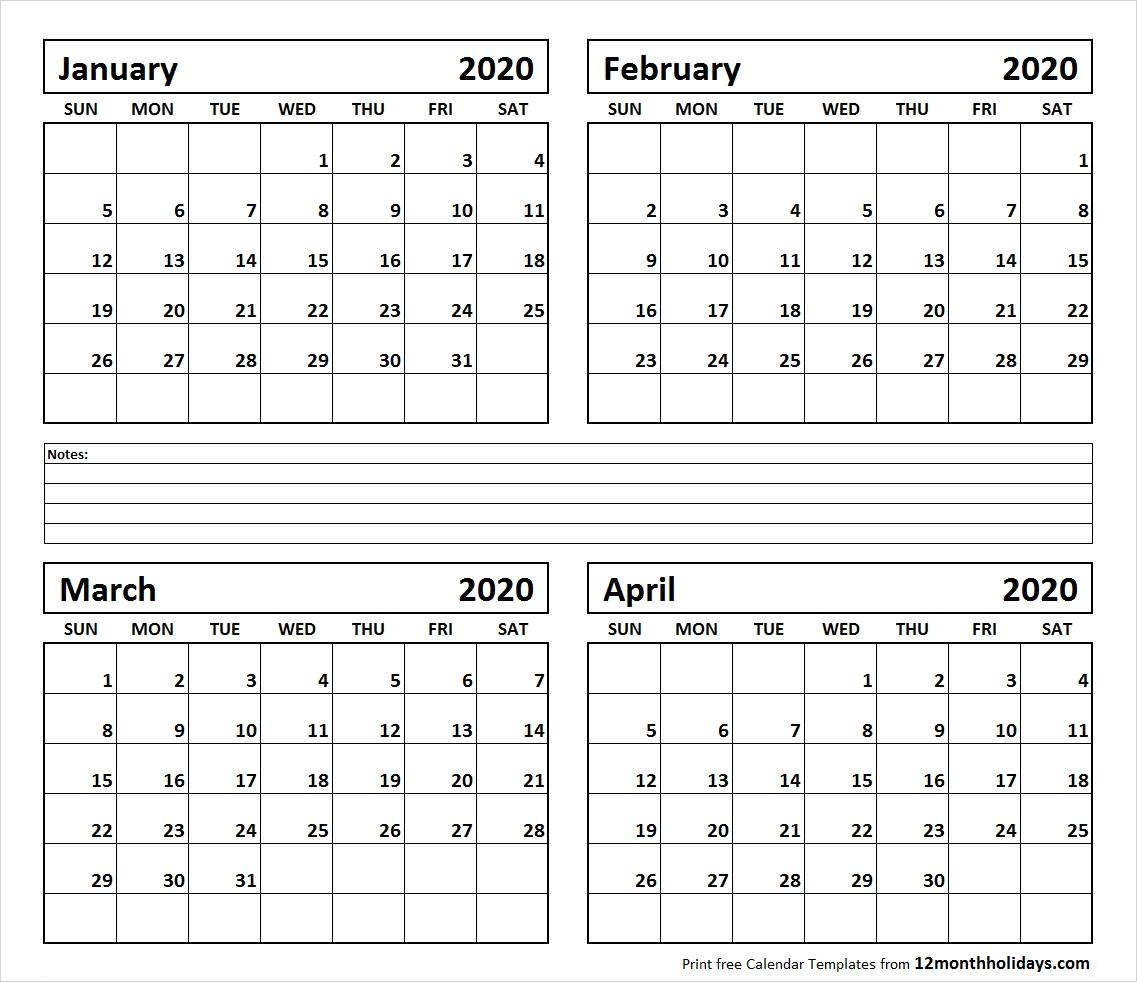 Calendar 2020 January February March April | Printable