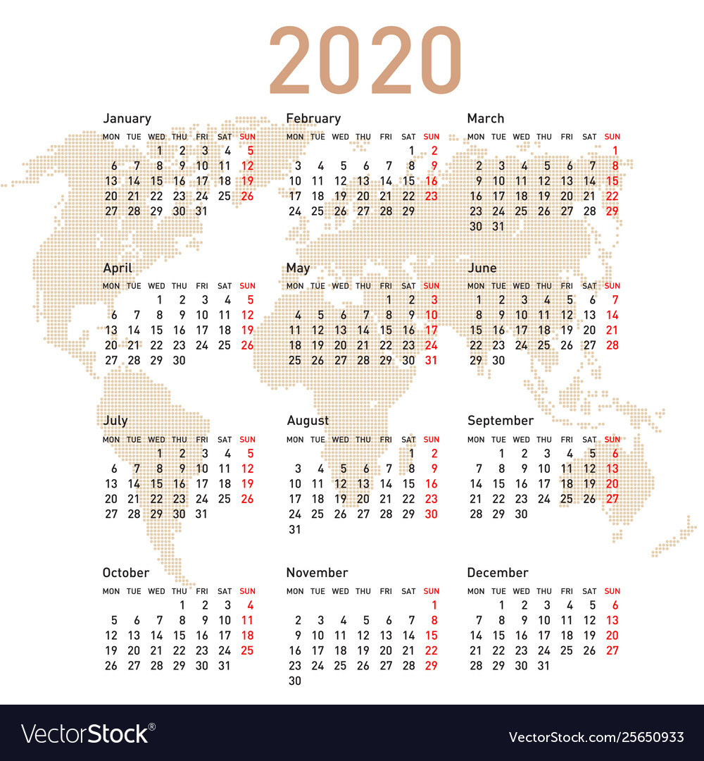 Calendar 2020 With World Map Week Starts On Monday