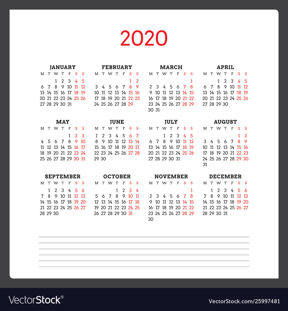 Calendar For 2020 Year Week Starts On Monday